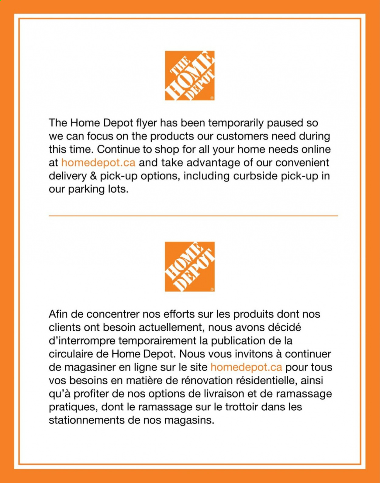 The Home Depot Flyer . Page 1.
