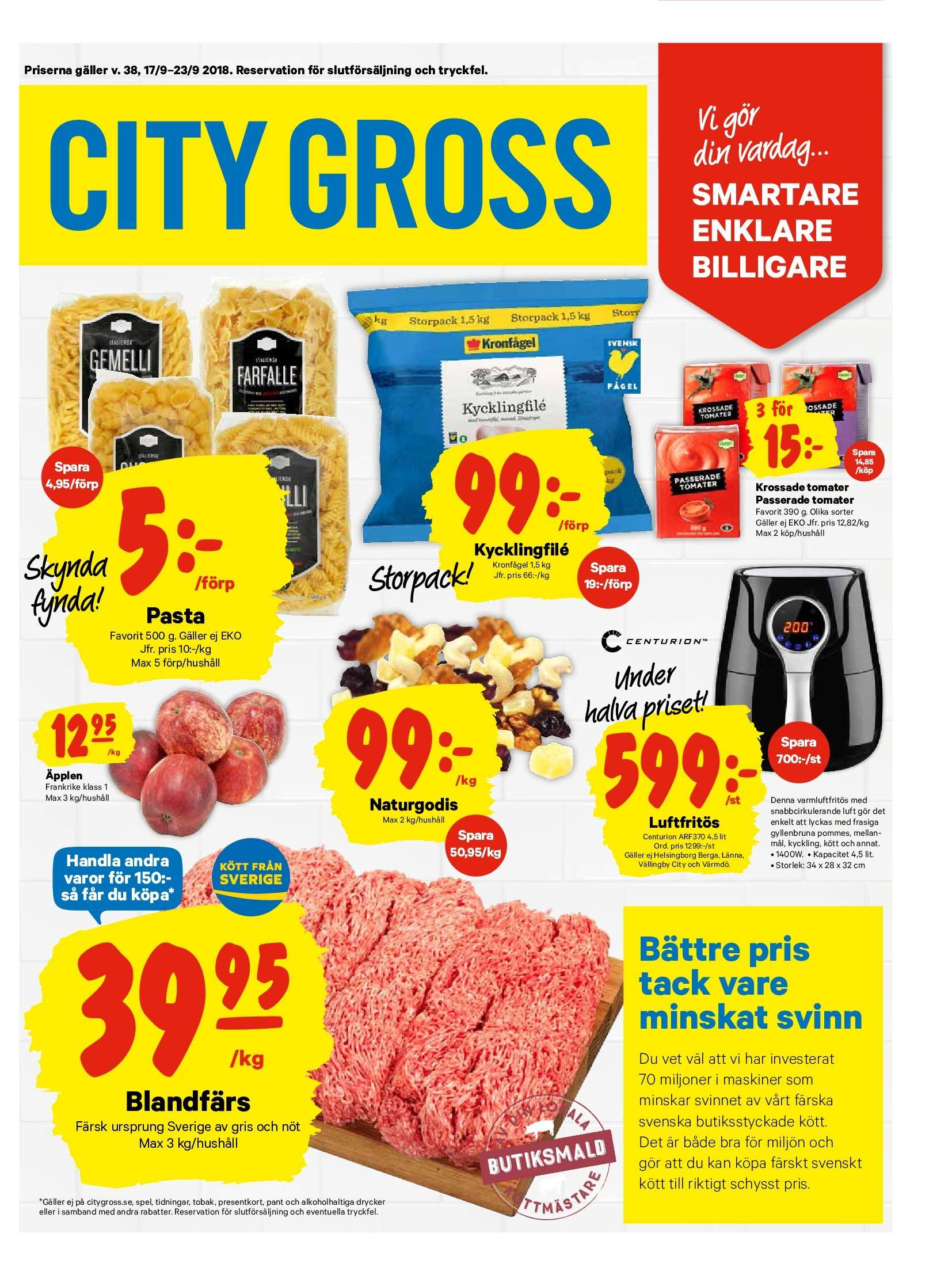 City Gross reklamblad - 17/9 2018 - 23/9 2018. Sida 1.