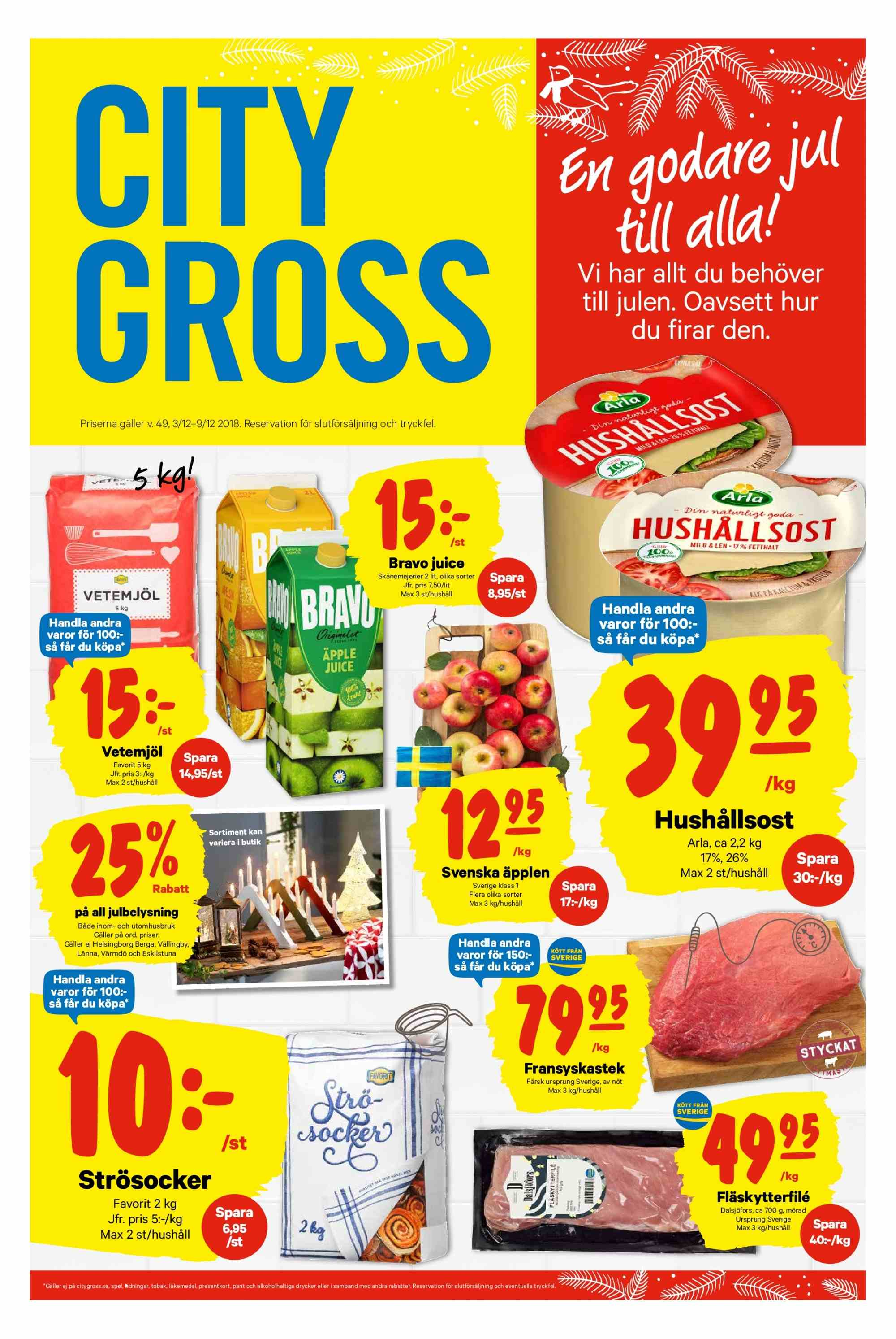 City Gross reklamblad - 3/12 2018 - 9/12 2018. Sida 1.