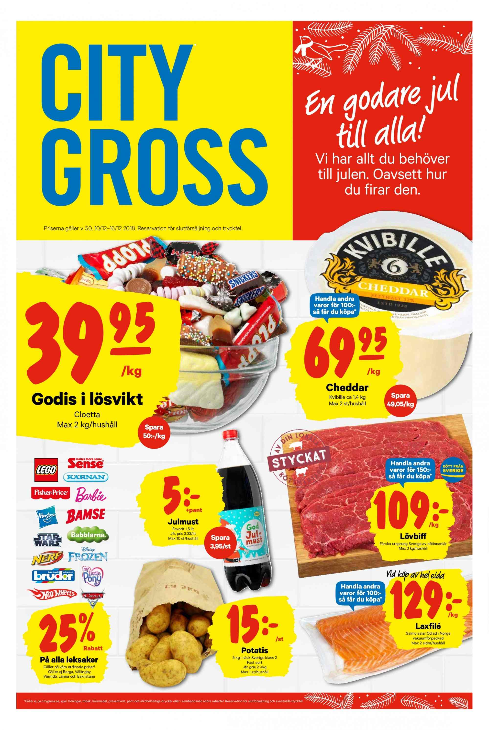 City Gross reklamblad - 10/12 2018 - 16/12 2018. Sida 1.