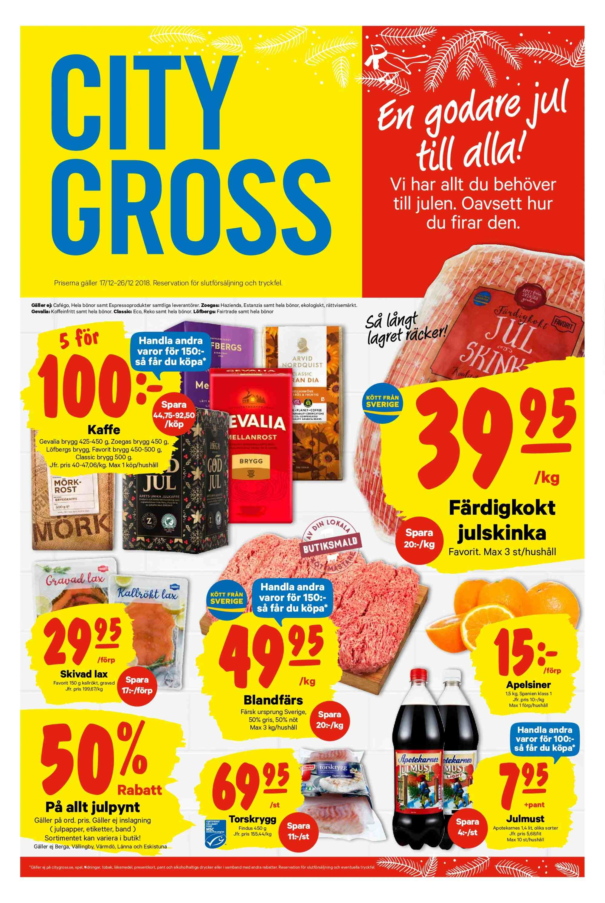 City Gross reklamblad - 17/12 2018 - 26/12 2018. Sida 1.
