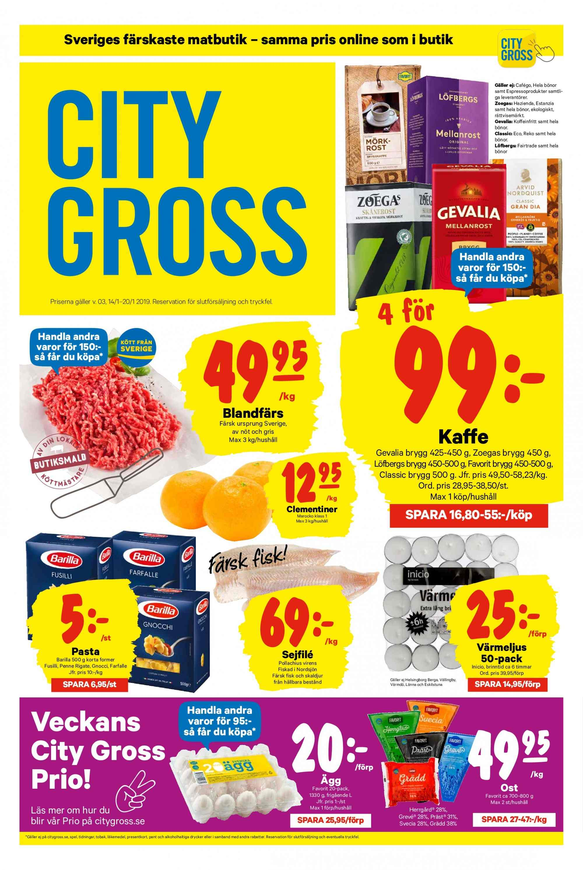 City Gross reklamblad - 14/1 2019 - 20/1 2019. Sida 1.