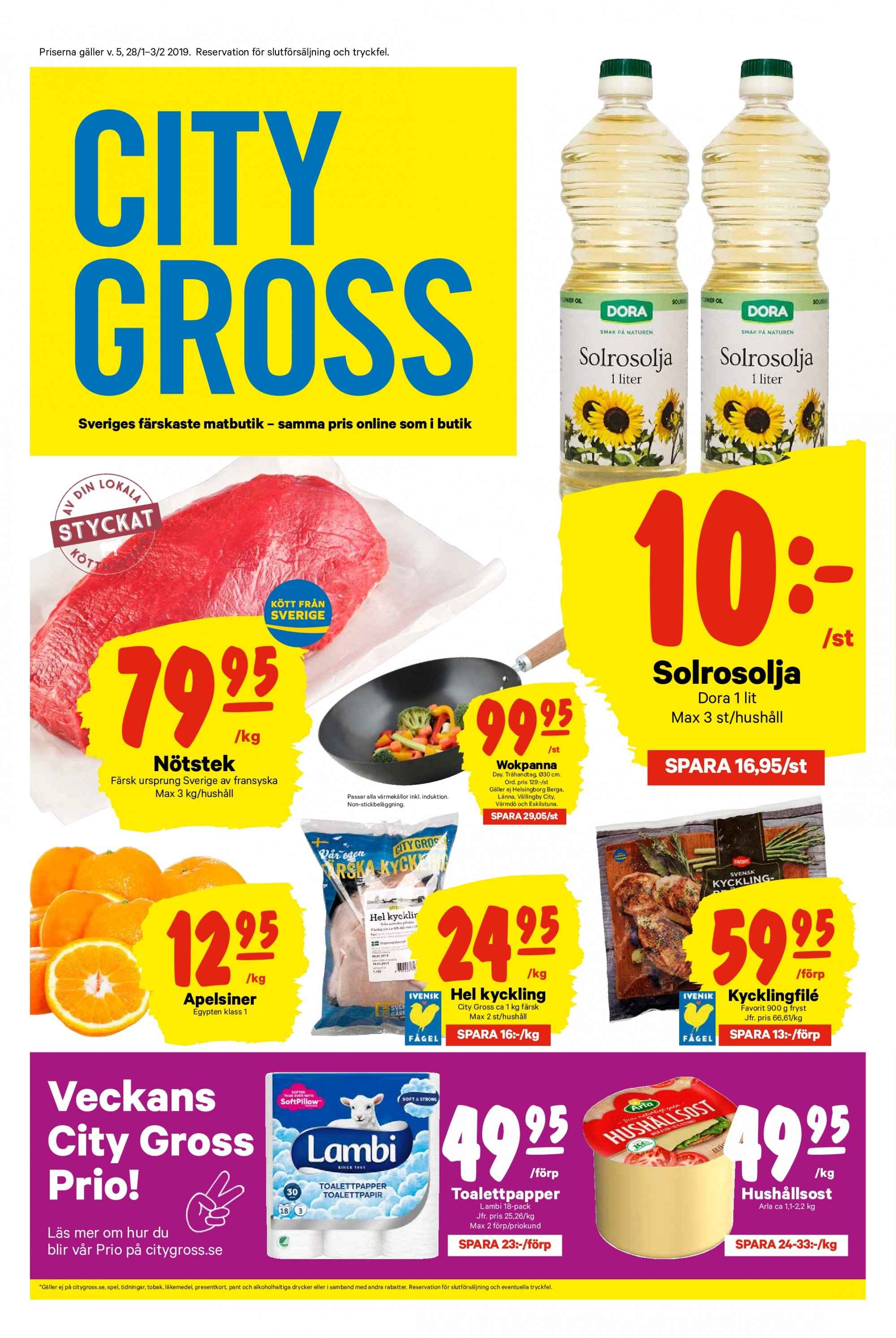 City Gross reklamblad - 28/1 2019 - 3/2 2019. Sida 1.
