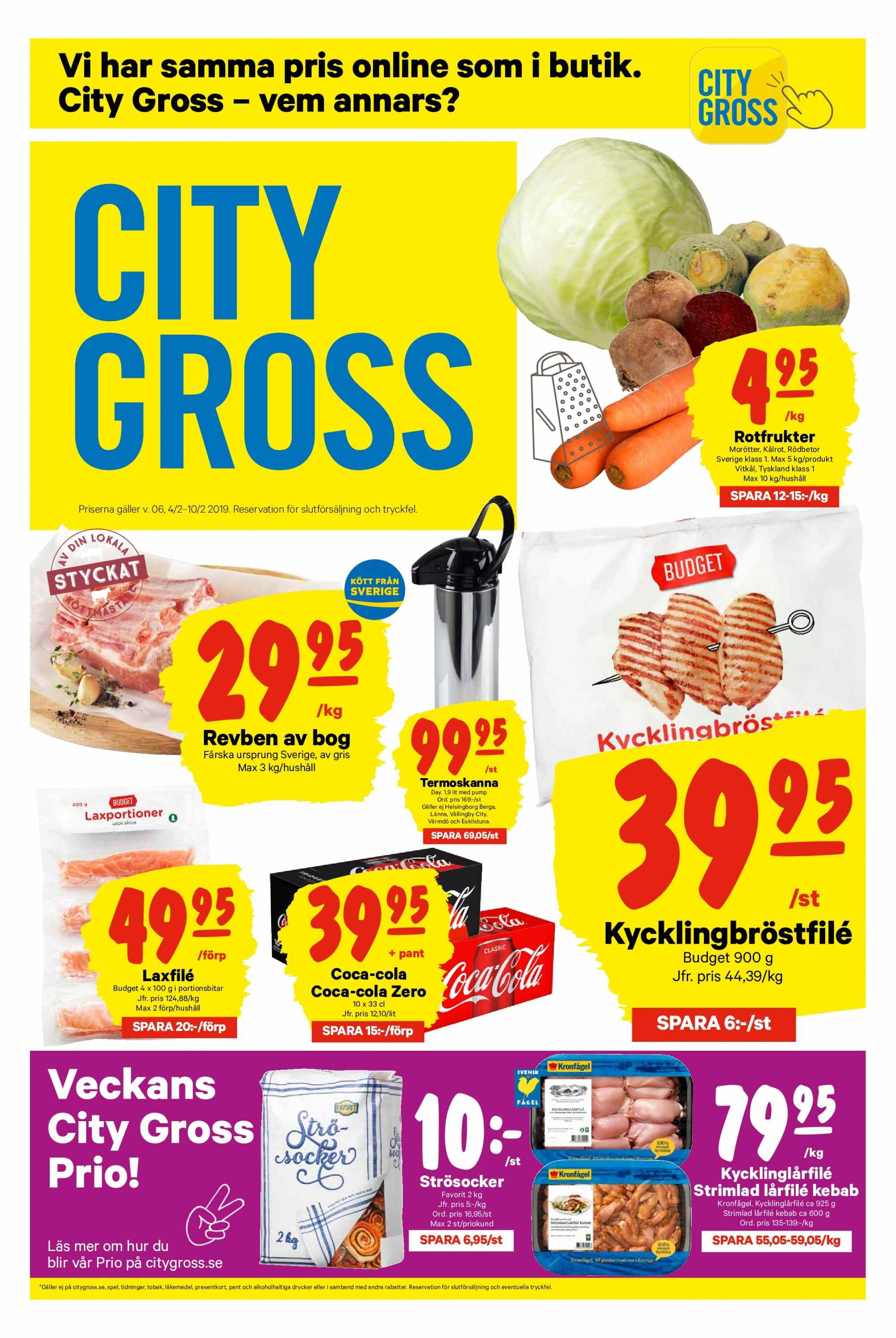 City Gross reklamblad - 4/2 2019 - 10/2 2019. Sida 1.
