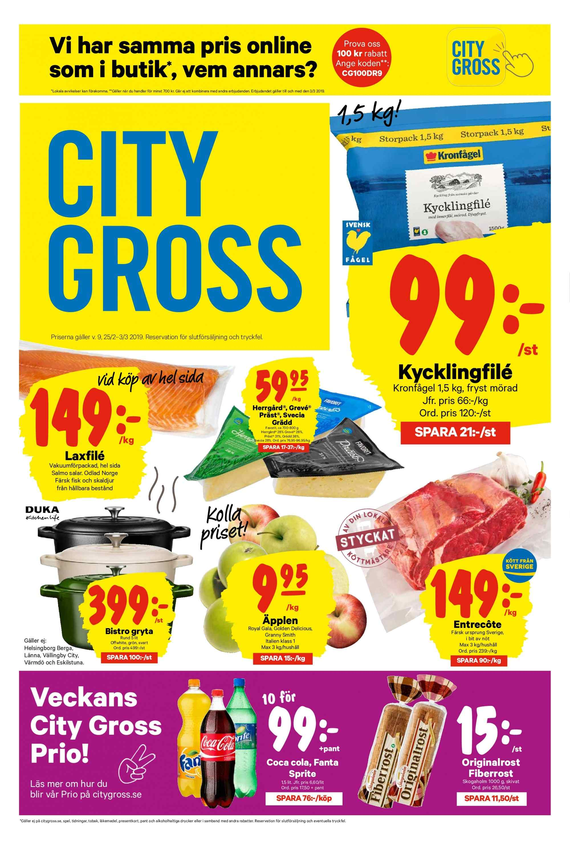 City Gross reklamblad - 25/2 2019 - 3/3 2019. Sida 1.