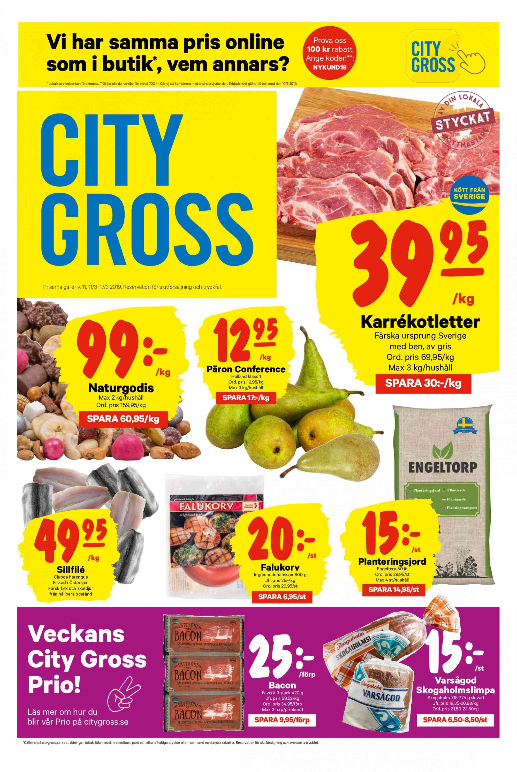 City Gross reklamblad - 11/3 2019 - 17/3 2019. Sida 1.