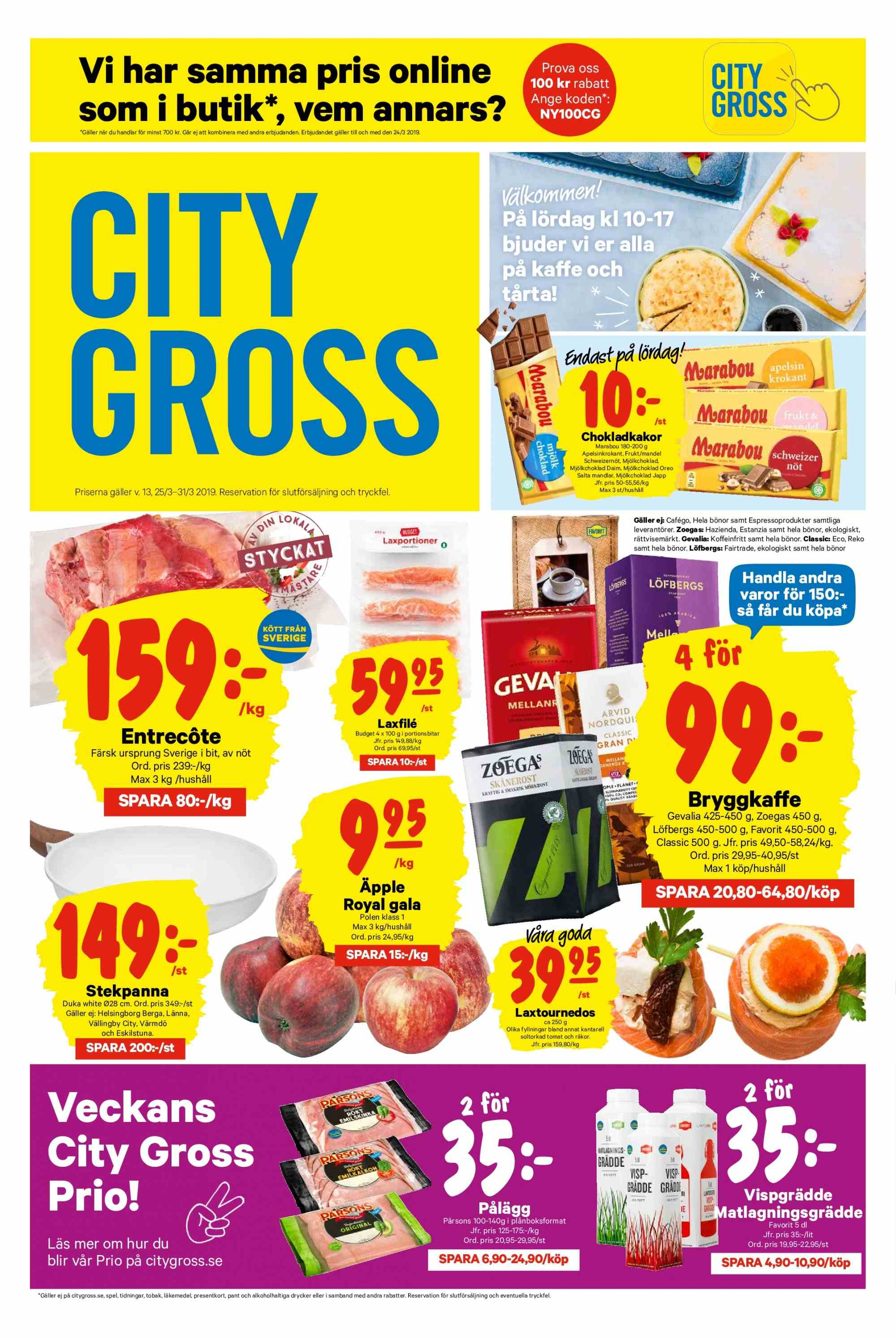 City Gross reklamblad - 25/3 2019 - 31/3 2019. Sida 1.