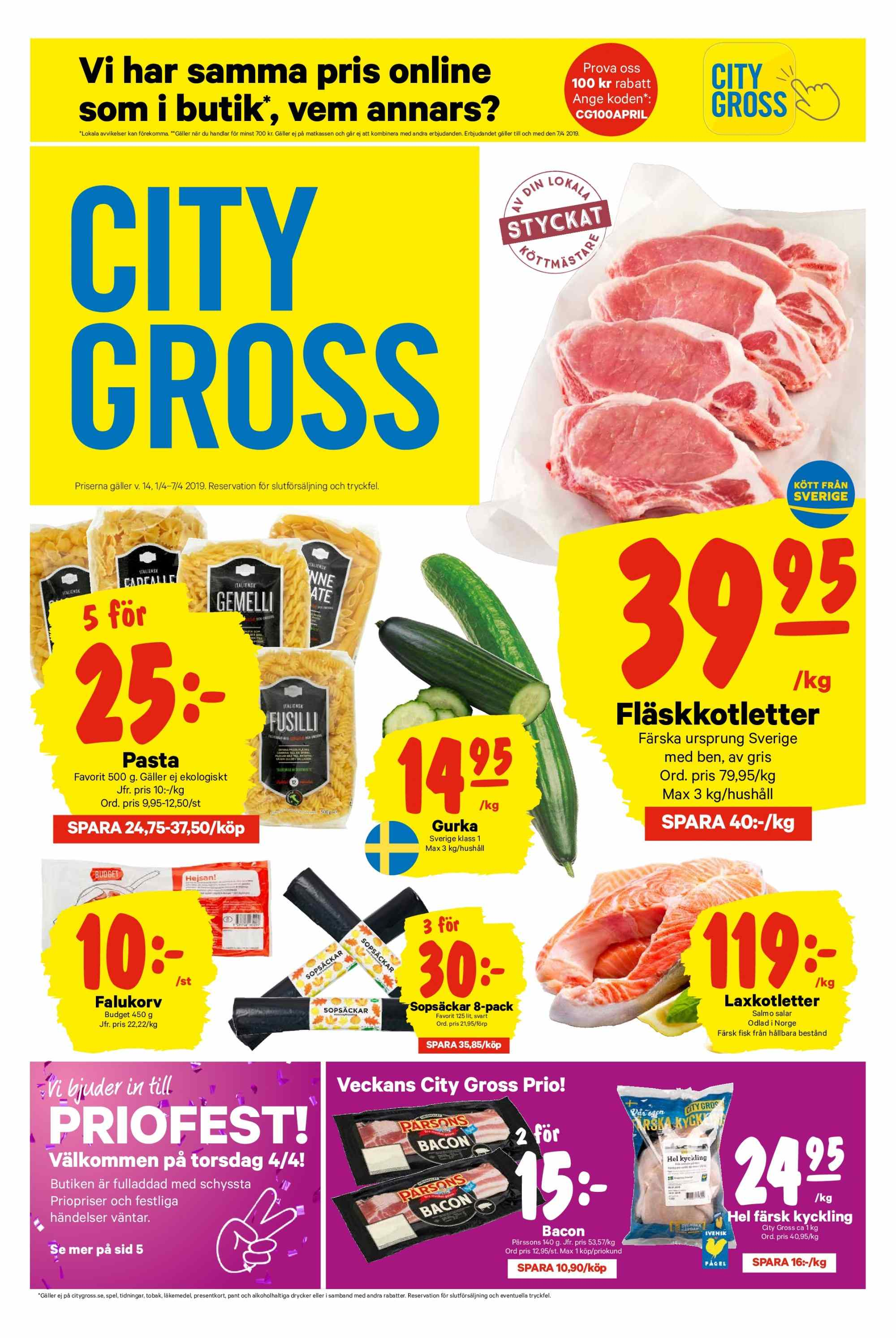 City Gross reklamblad - 1/4 2019 - 7/4 2019. Sida 1.