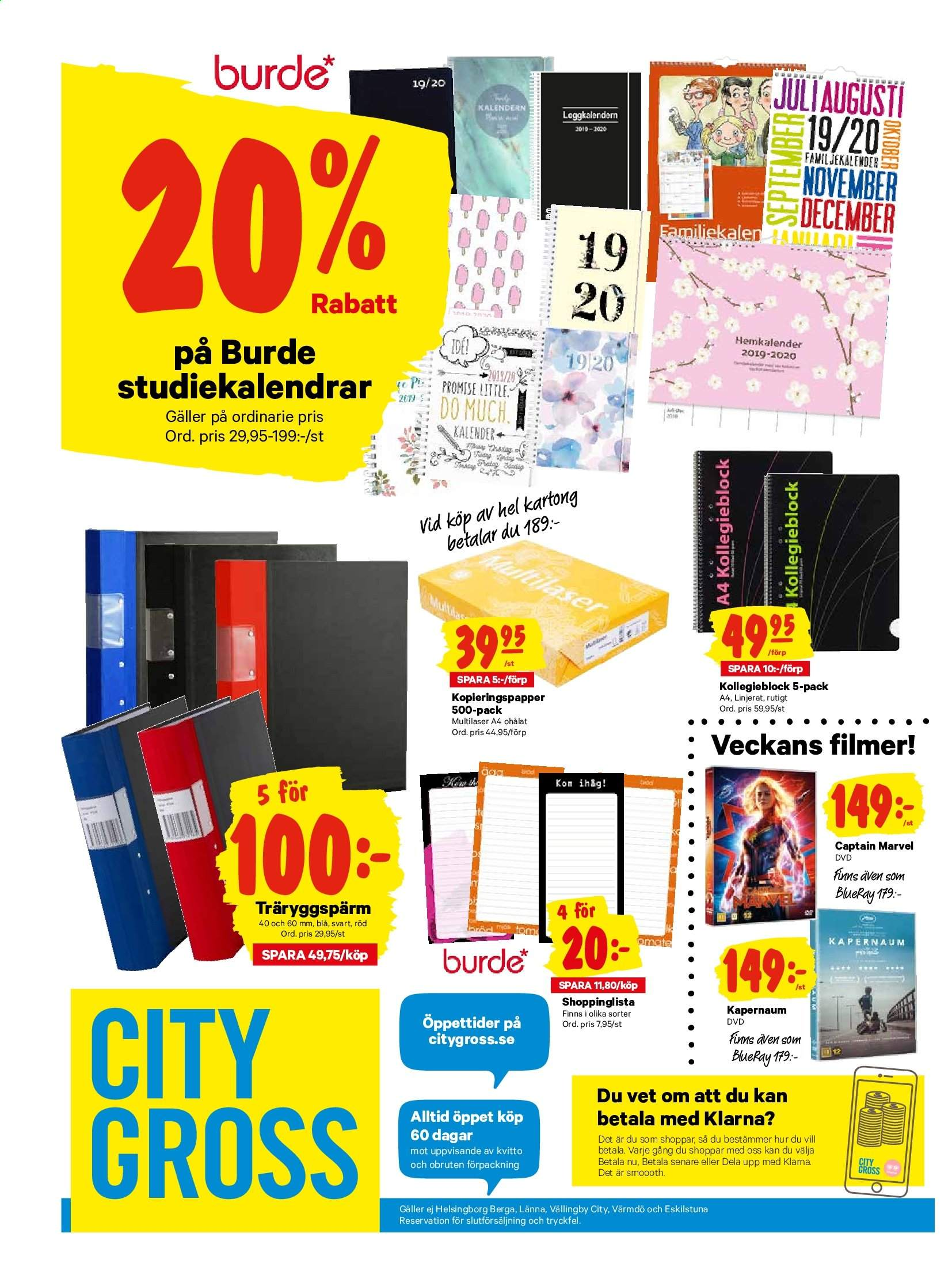 City Gross reklamblad - 22/7 2019 - 28/7 2019. Sida 20.