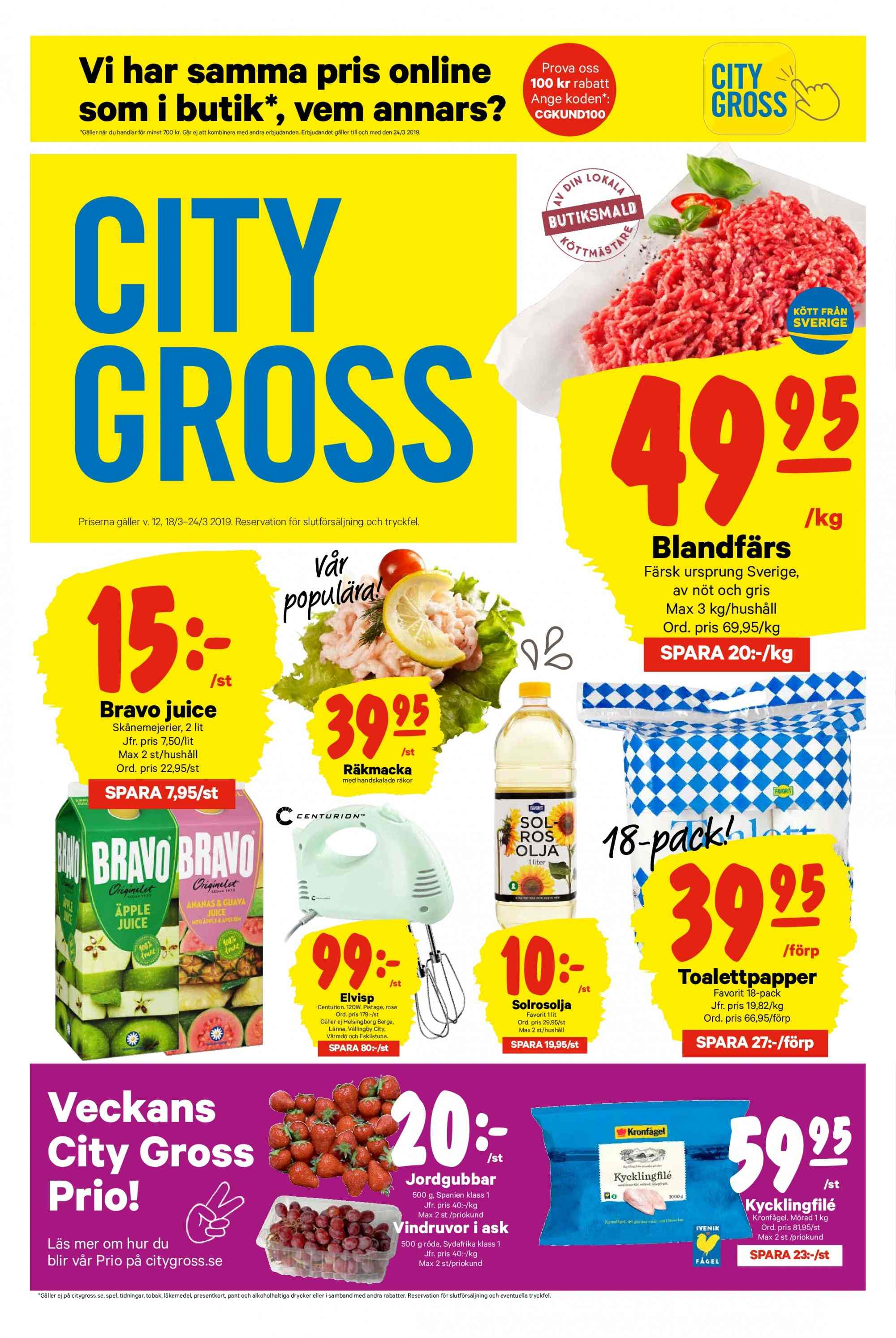 City Gross reklamblad - 18/3 2019 - 24/3 2019. Sida 1.