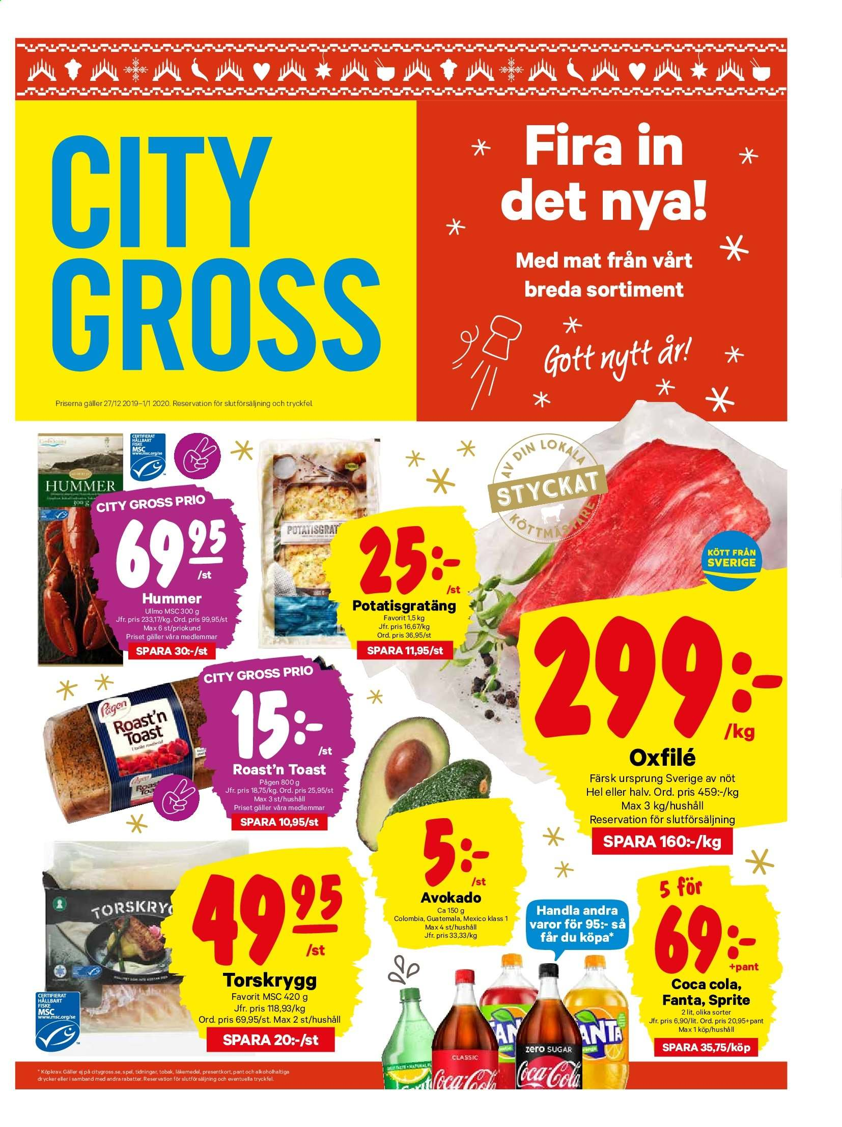 City Gross reklamblad - 27/12 2019 - 1/1 2020. Sida 1.