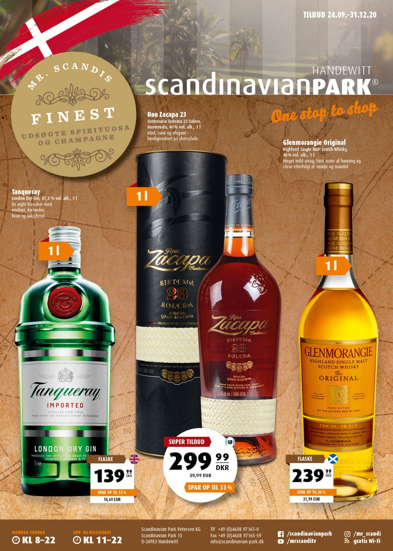 Scandinavian Park tilbud  - 24.09.2020 - 31.12.2020 - tilbudsprodukter - and, gin, honning, champagne, park, rom, scotch whisky, single malt, the, whisky, wi-fi, zacapa. Side 1.