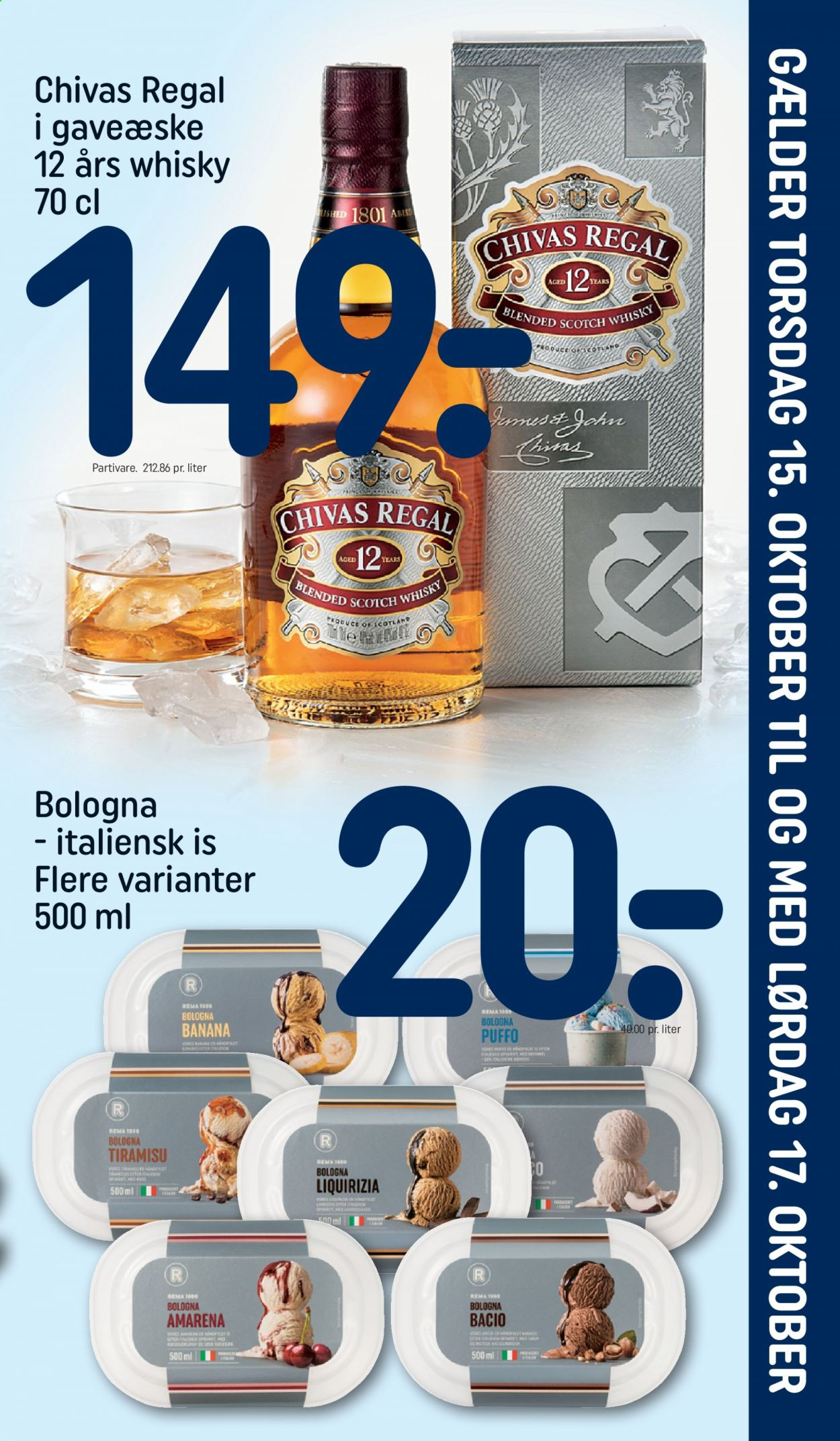 Rema 1000 tilbud  - 15.10.2020 - 17.10.2020 - tilbudsprodukter - blended scotch whisky, scotch whisky, tiramisu, whisky. Side 1.