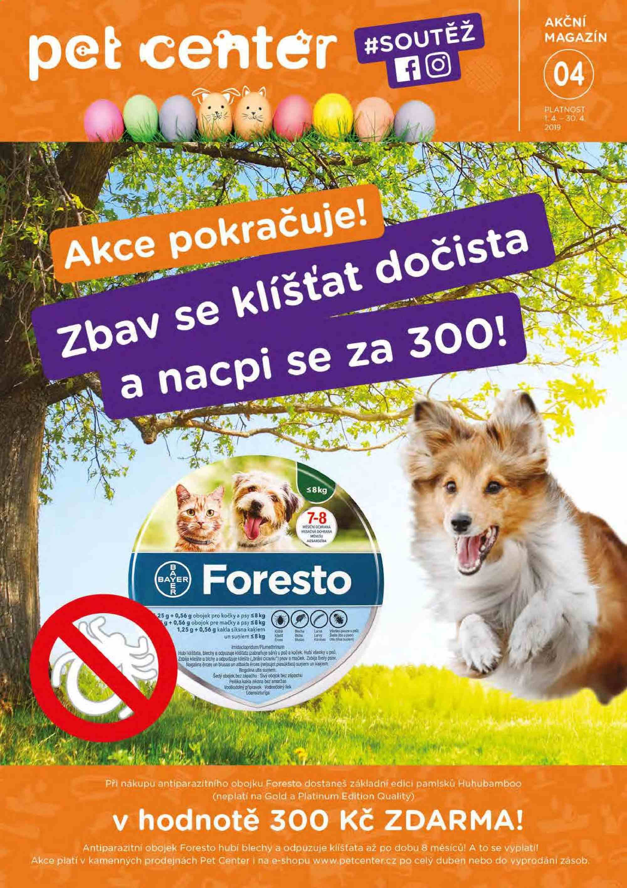 Leták Pet Center - 1. 4. 2019 - 30. 4. 2019. Strana 1.