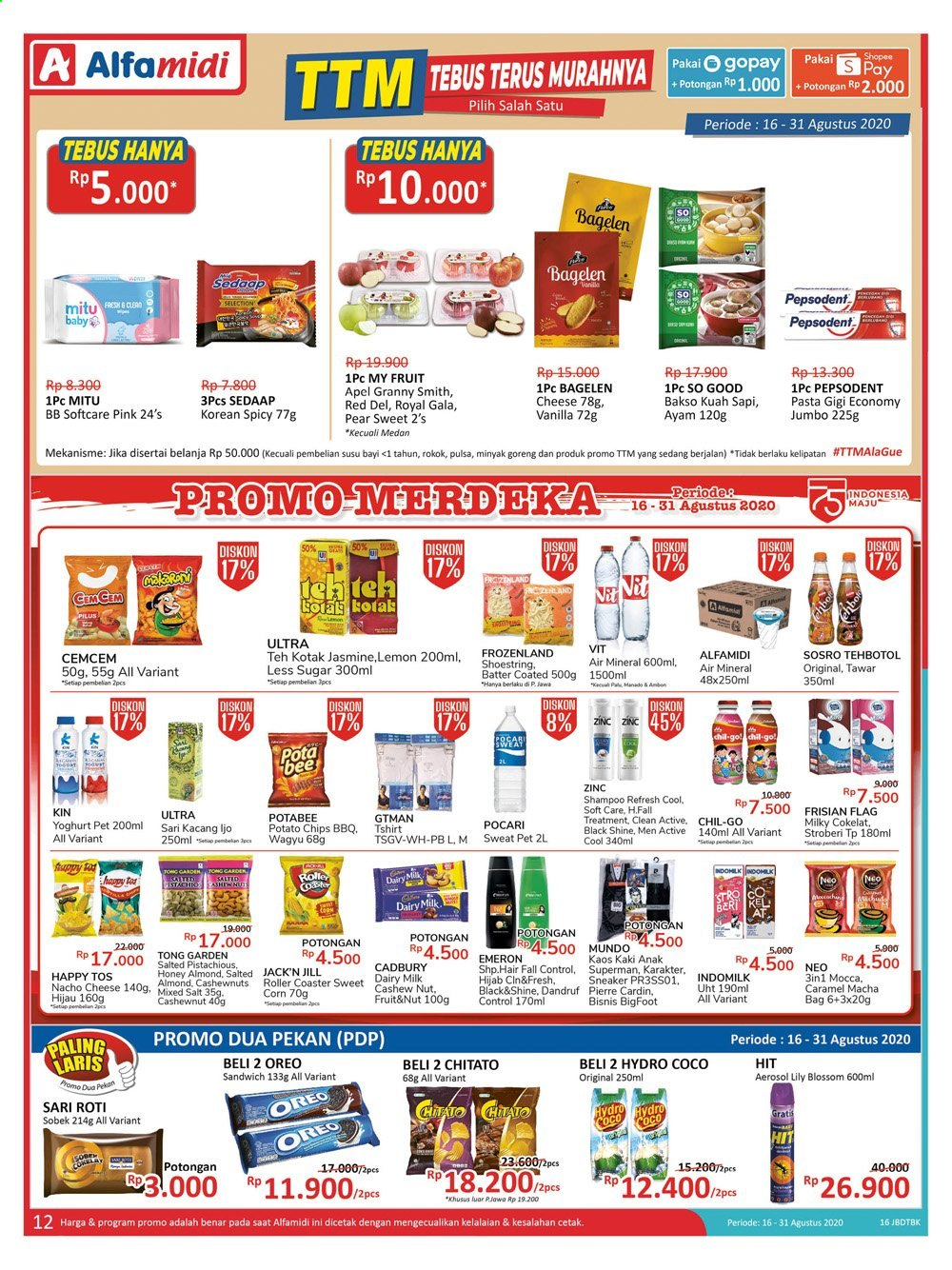 Promo Alfamidi - 08/16/2020 - 08/31/2020 - Produk diskon - milk, indomilk, fruit, goreng, zinc, tong, treatment, sugar, soft care, shampoo, potato chips, ps+, pepsodent, pet, pierre cardin, lemon, oreo, minyak, minyak goreng, mitu, kaos, kacang, chips, hit, honey, corn, coco, cadbury, caramel, bag, apel, aerosol, anak. Halaman 12.