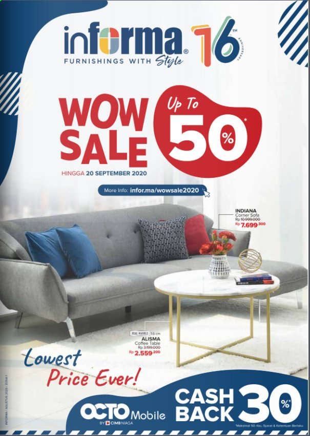 Promo Informa - 08/27/2020 - 09/20/2020 - Produk diskon - table, sofa, corner sofa, coffee table. Halaman 1.