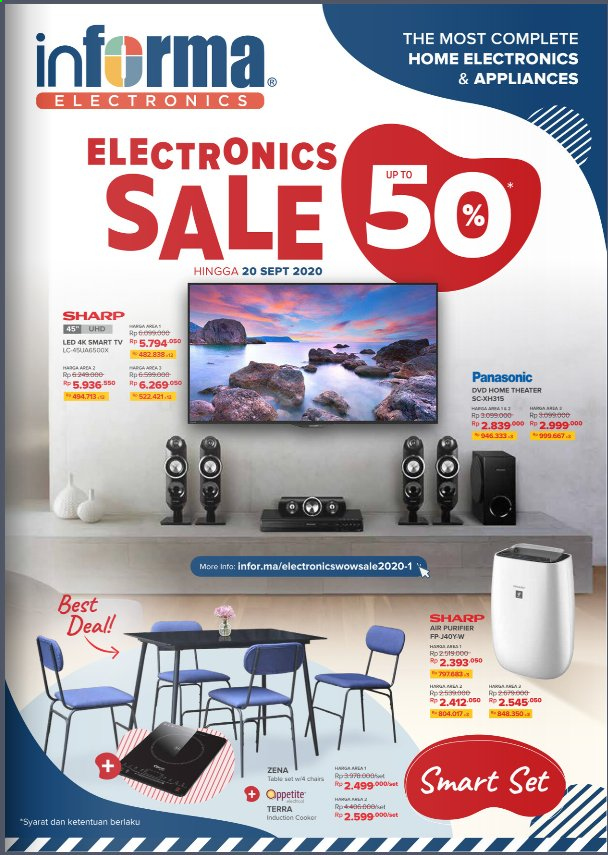 Promo Informa - 09/10/2020 - 09/20/2020 - Produk diskon - table, table set, smart tv, sharp, panasonic, home theater, chair, dvd, tree. Halaman 1.