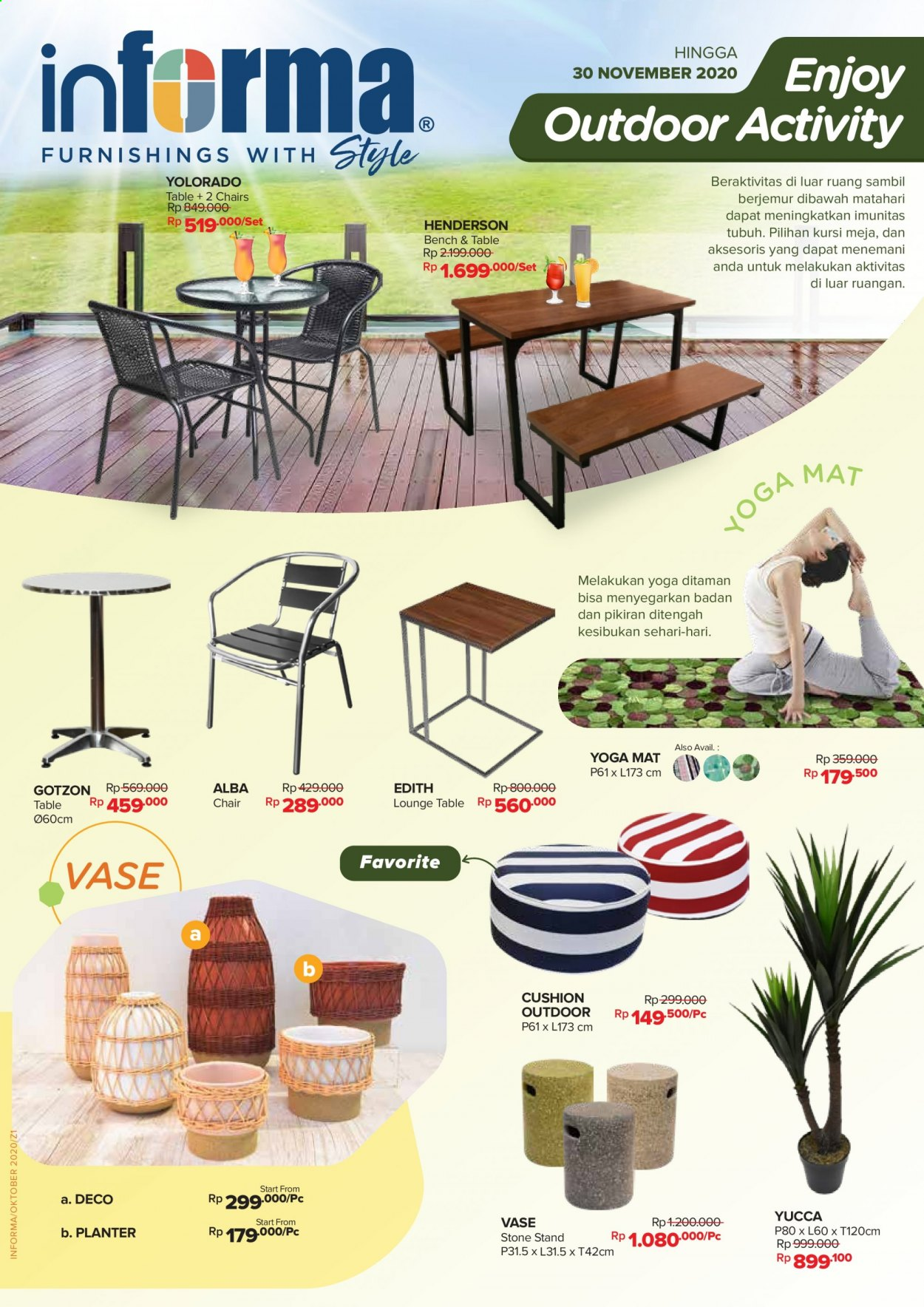 Promo Informa - 11/11/2020 - 11/30/2020 - Produk diskon - yoga mat, table, stand, mat, outdoor, kursi, chair, cushion, bench. Halaman 1.
