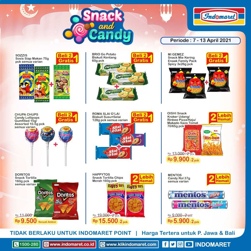 Promo Indomaret - 04/07/2021 - 04/13/2021 - Produk diskon - tomat, tortilla chips, kentang, mint, chips, doritos, corn, corn chips. Halaman 1.