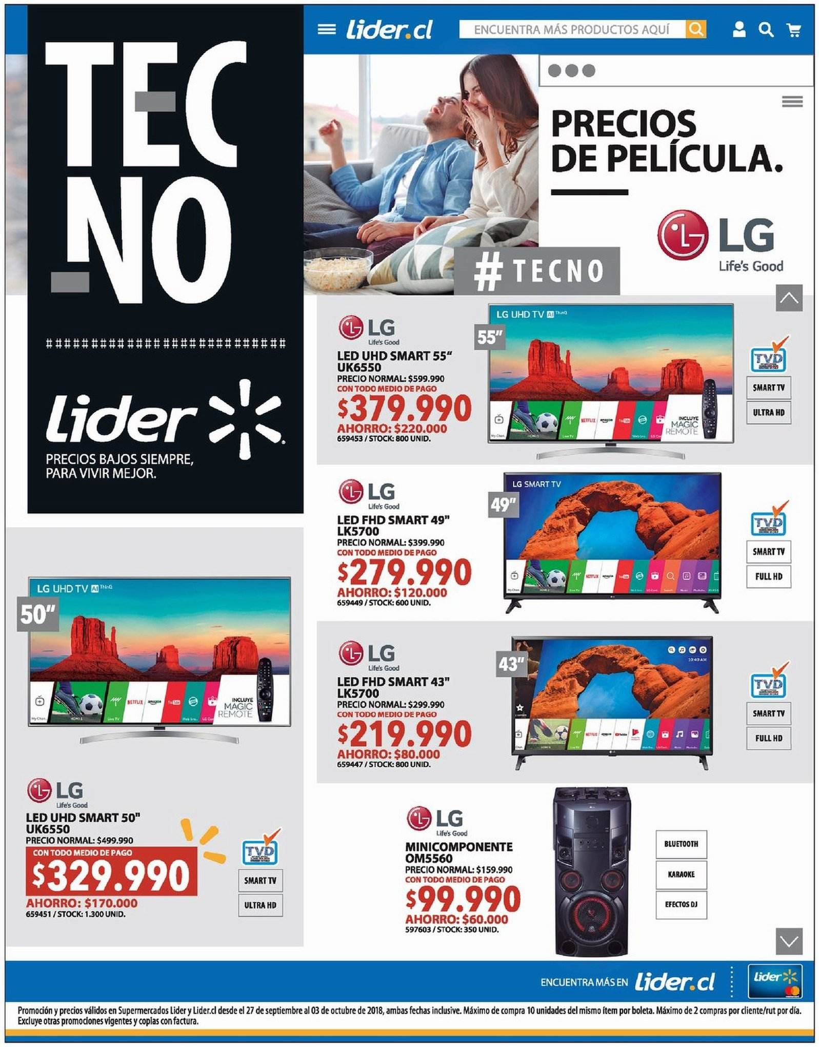 Folleto actual Lider - 27.9.2018 - 3.10.2018 - Ventas - led, bluetooth, full hd, karaoke, lg, smart tv, tv, ultra hd. Página 1.