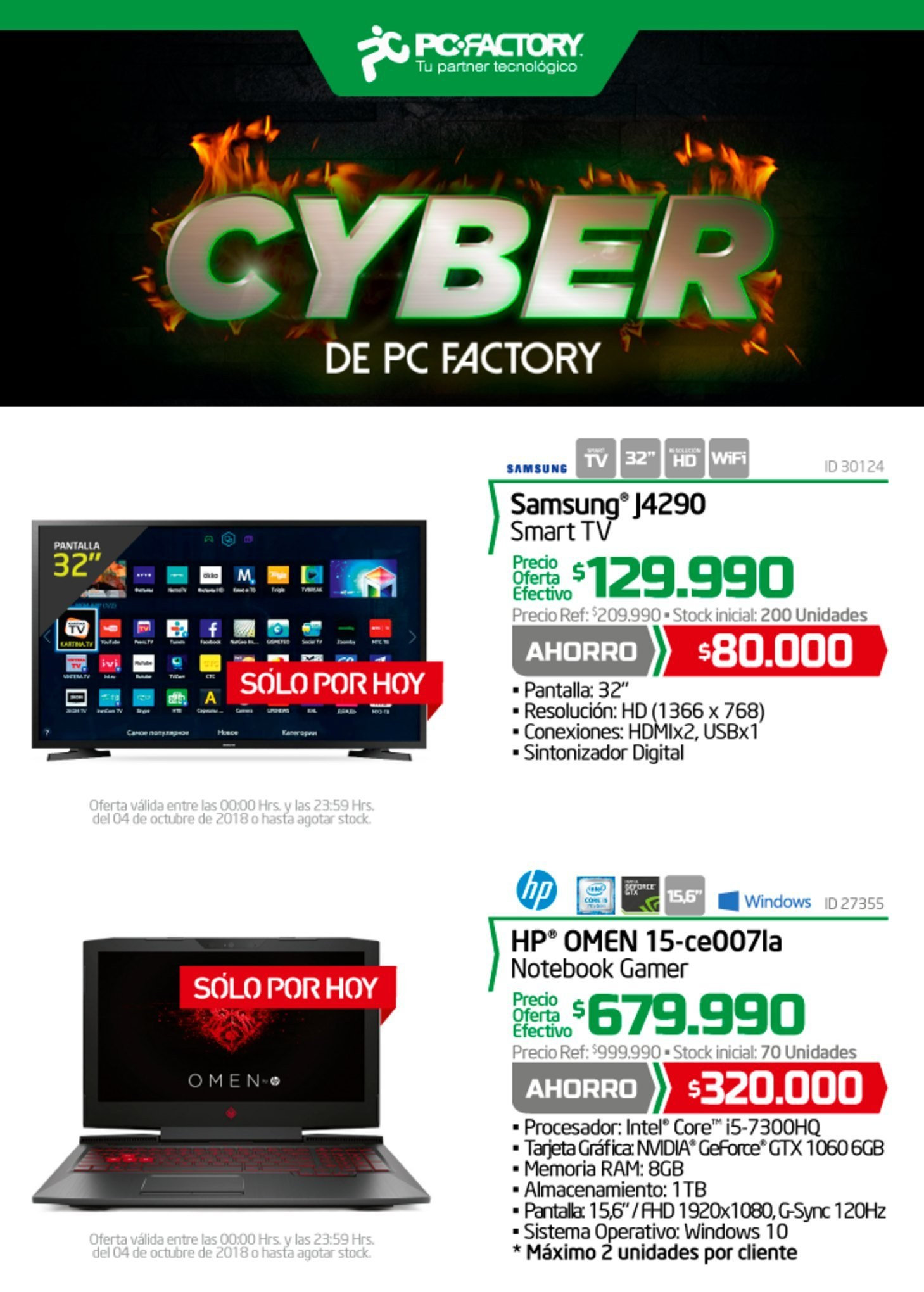 Catálogo PC Factory - 4.10.2018 - 4.10.2018 - Ventas - geforce, intel, procesador, smart tv, tv, samsung, nvidia. Página 1.