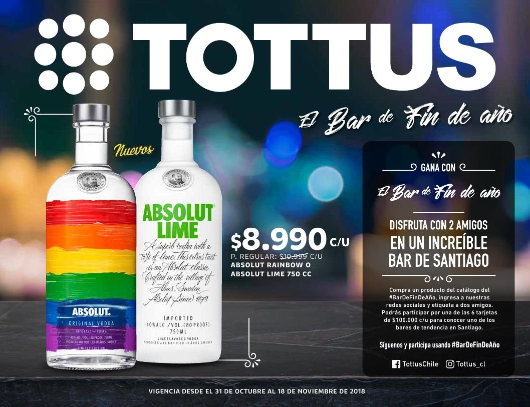 Folleto actual Tottus - 31.10.2018 - 18.11.2018 - Ventas - absolut, vodka. Página 1.