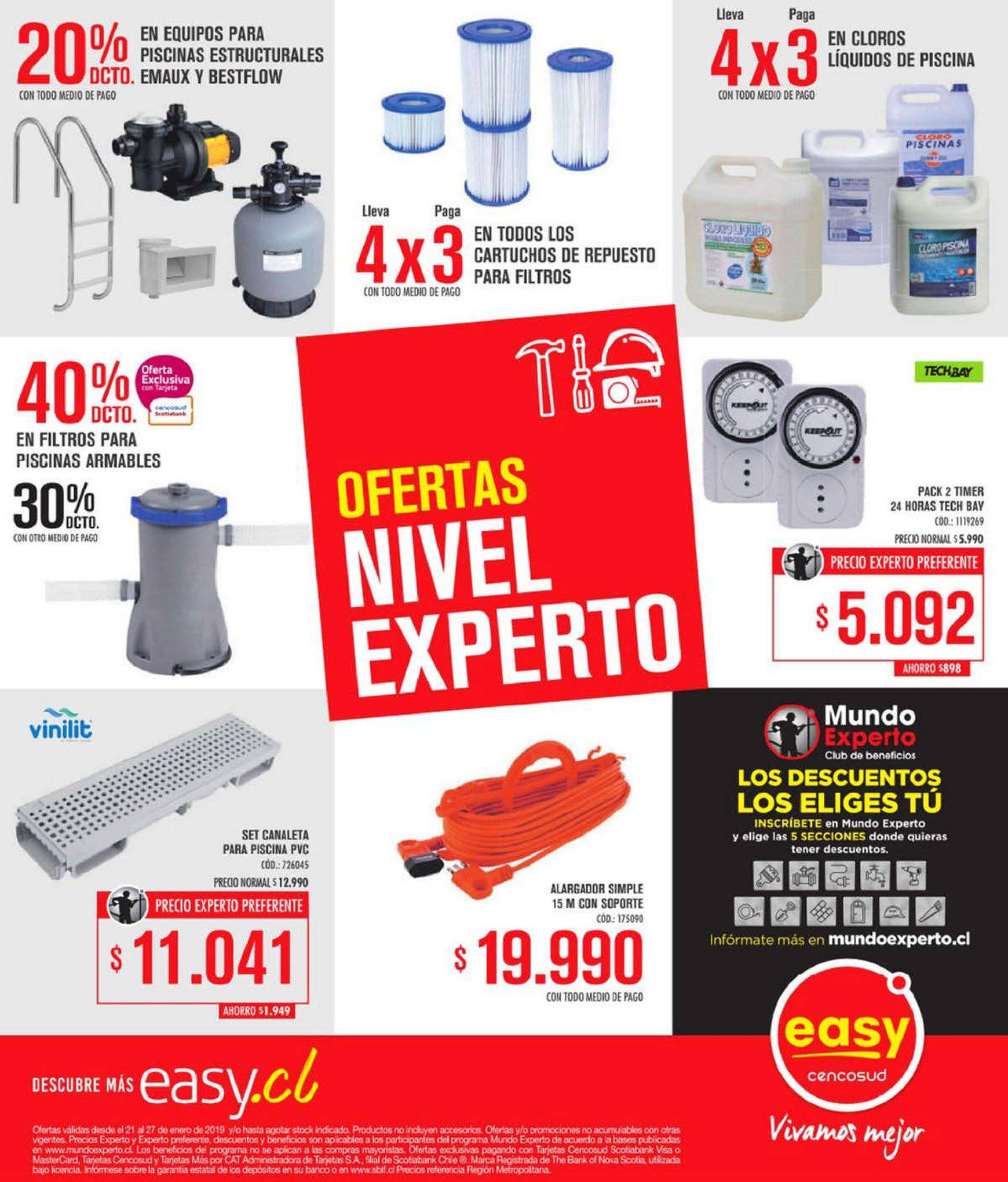 Folleto actual Easy - 21.1.2019 - 27.1.2019 - Ventas - accesorios, banco, cartucho, piscina. Página 1.