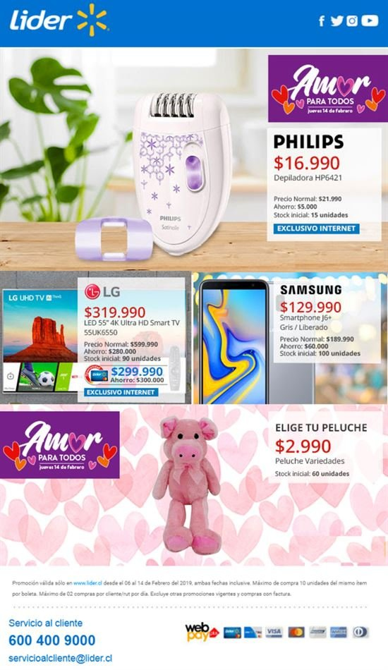 Folleto actual Lider - 6.2.2019 - 14.2.2019 - Ventas - led, hp, lg, philips, smart tv, smartphone, tv, ultra hd, peluche, samsung, depiladora. Página 1.