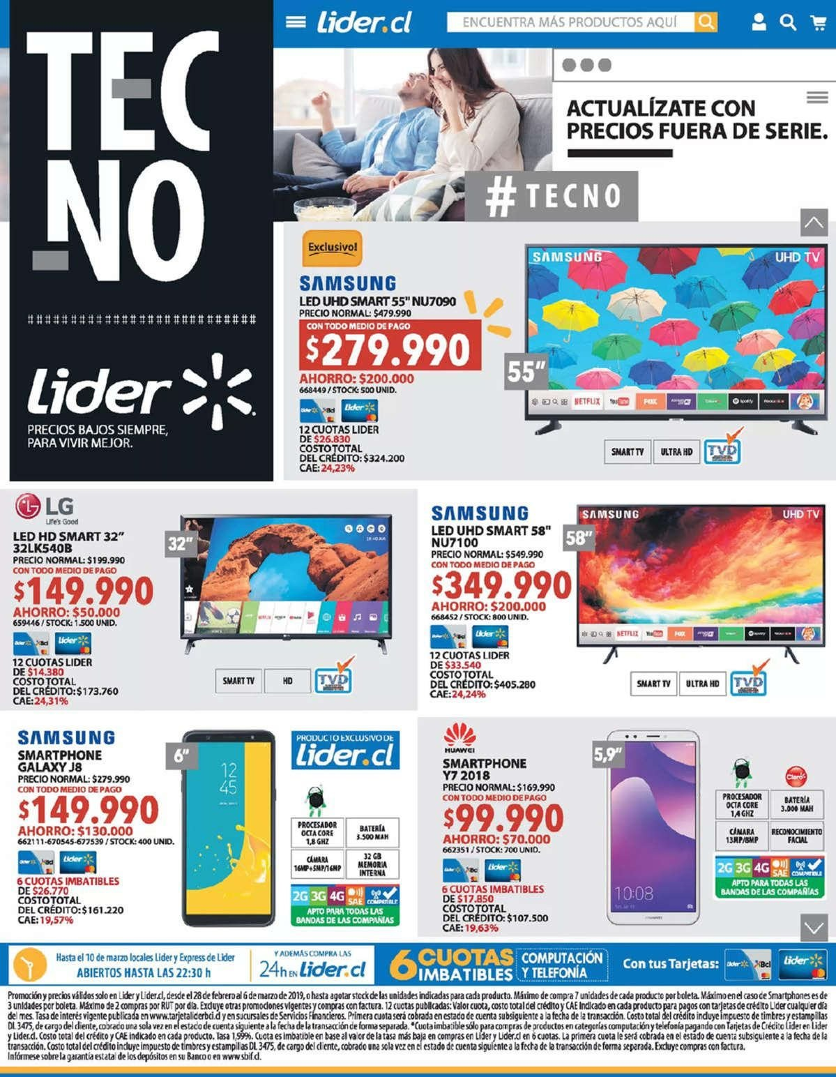 Folleto actual Lider - 28.2.2019 - 6.3.2019 - Ventas - led, galaxy, hp, lg, smartphone, ultra hd, samsung, base. Página 1.