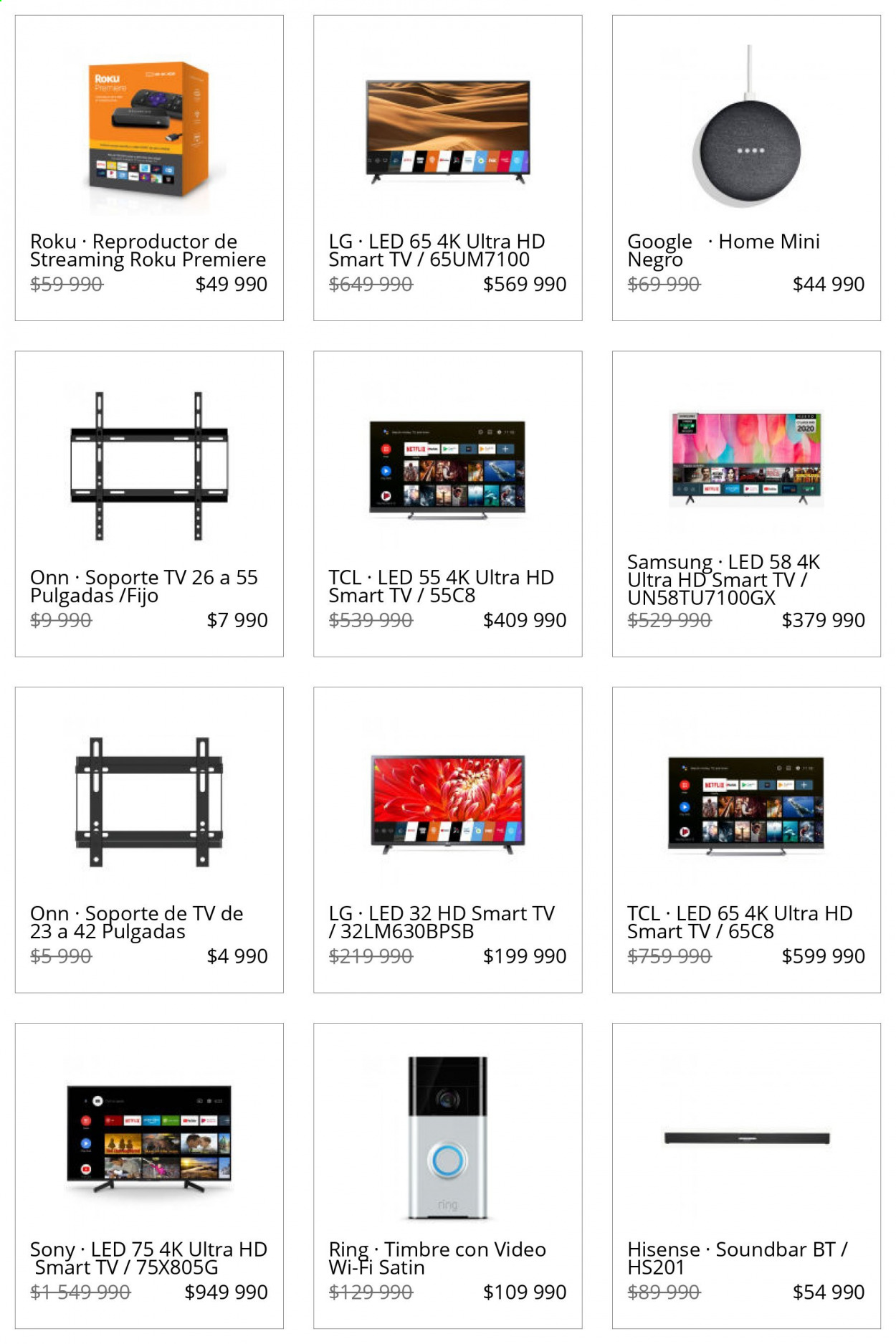 Catálogo Lider - Ventas - led, google, hisense, lg, reproductor, smart tv, sony, soporte tv, soundbar, ultra hd, wifi, Samsung. Página 1.