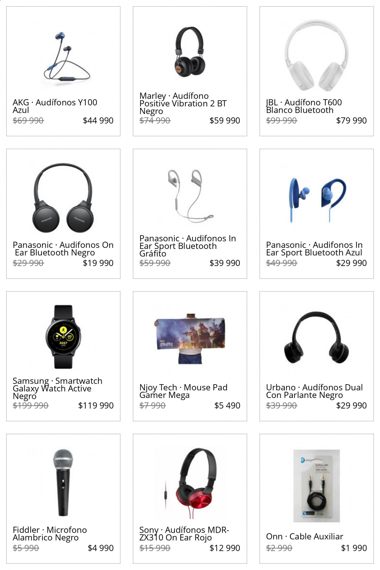 Catálogo Lider - Ventas - bluetooth, galaxy, jbl, micrófono, smartwatch, sony, panasonic, samsung, cable, parlante, audifonos on ear. Página 1.