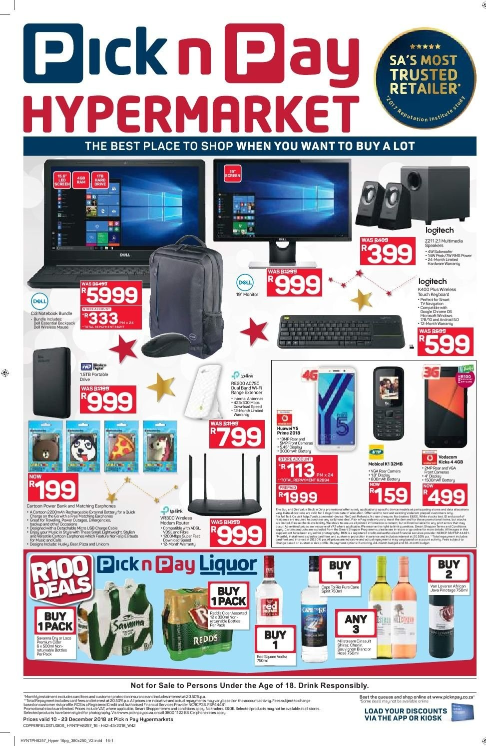 Pick n Pay catalogue  - 12.10.2018 - 12.23.2018. Page 16.