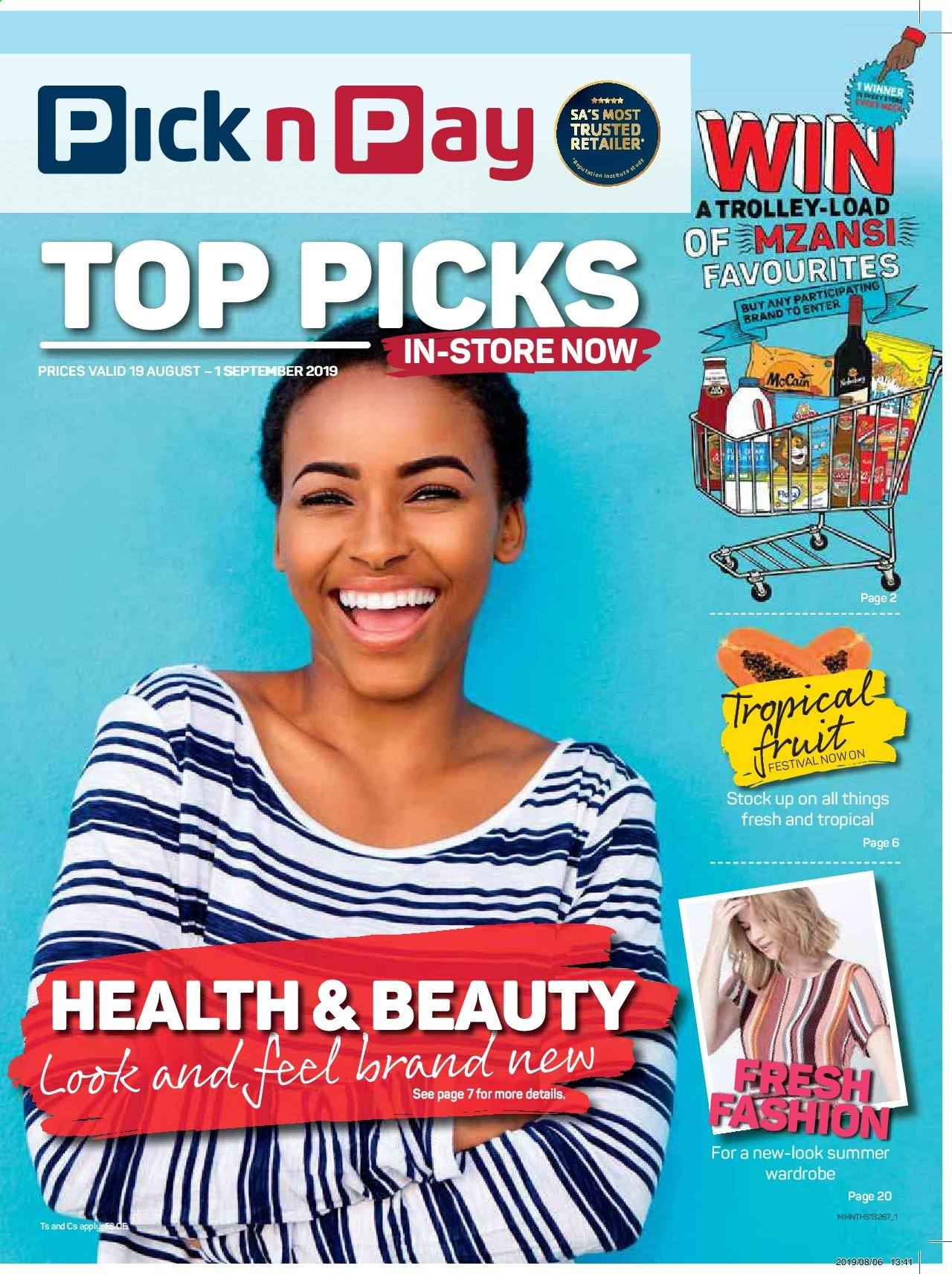 Pick n Pay catalogue  - 08.19.2019 - 09.01.2019. Page 1.