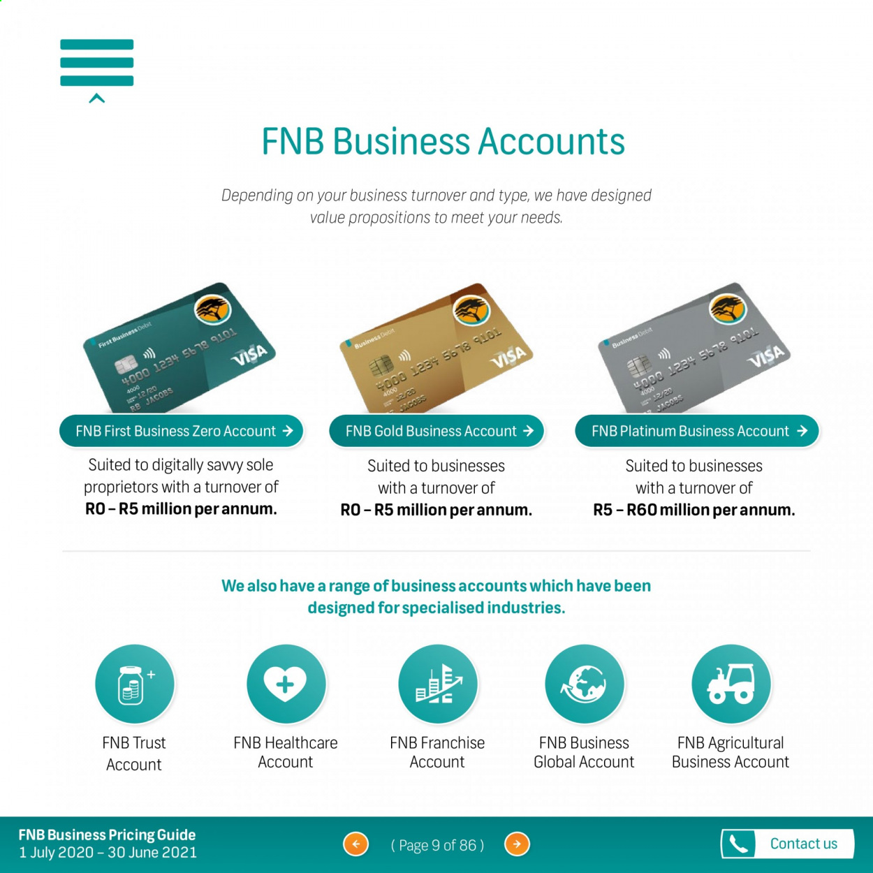 FNB catalogue  - 07.01.2020 - 06.30.2021. Page 9.