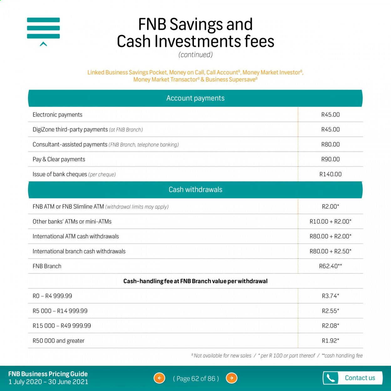 FNB catalogue  - 07.01.2020 - 06.30.2021. Page 62.