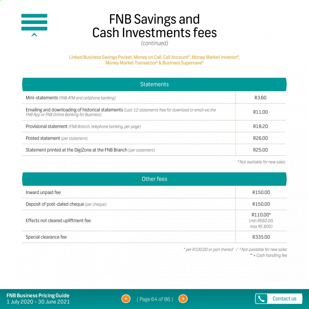 FNB catalogue  - 07.01.2020 - 06.30.2021. Page 64.