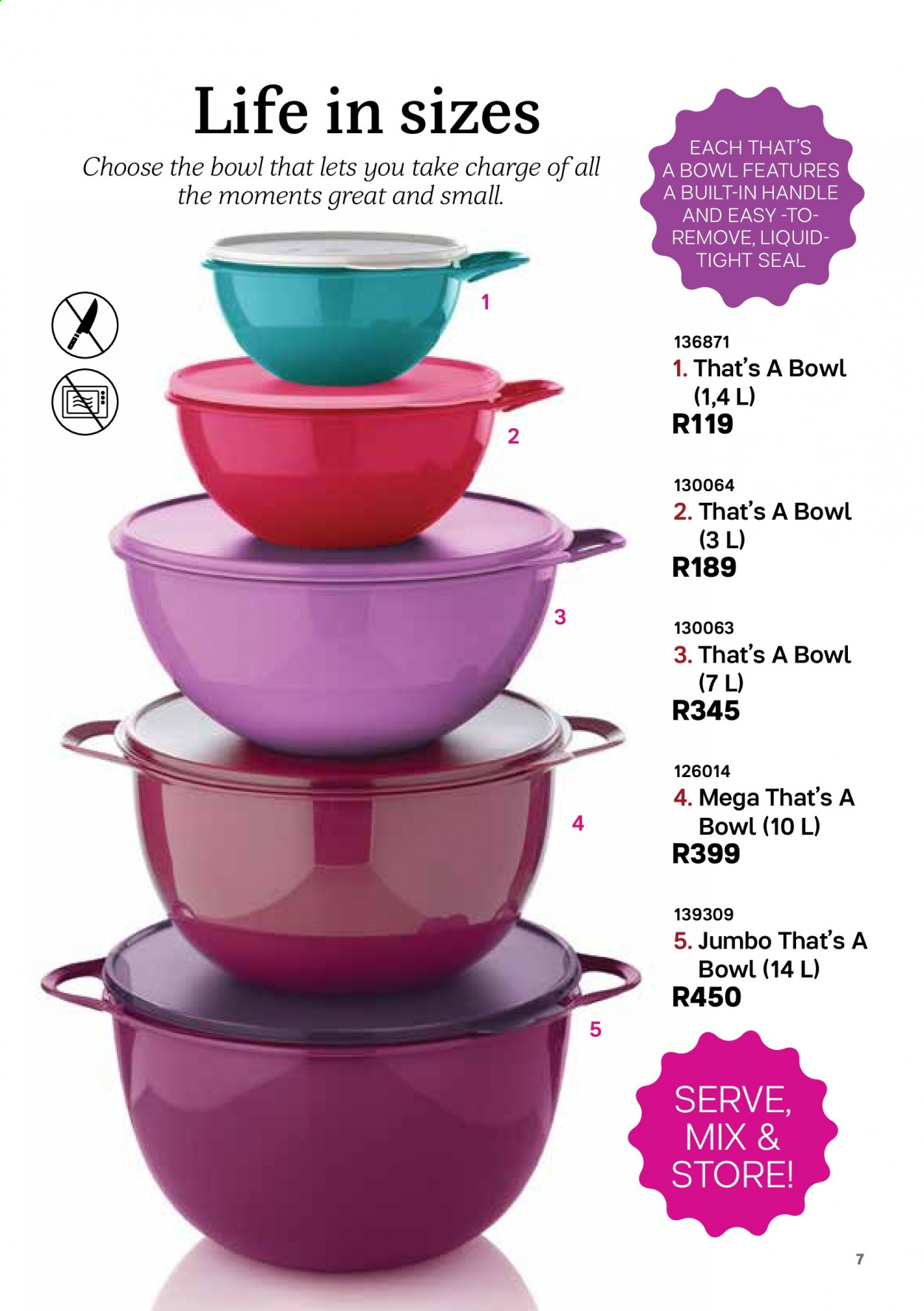 Tupperware catalogue . Page 7.