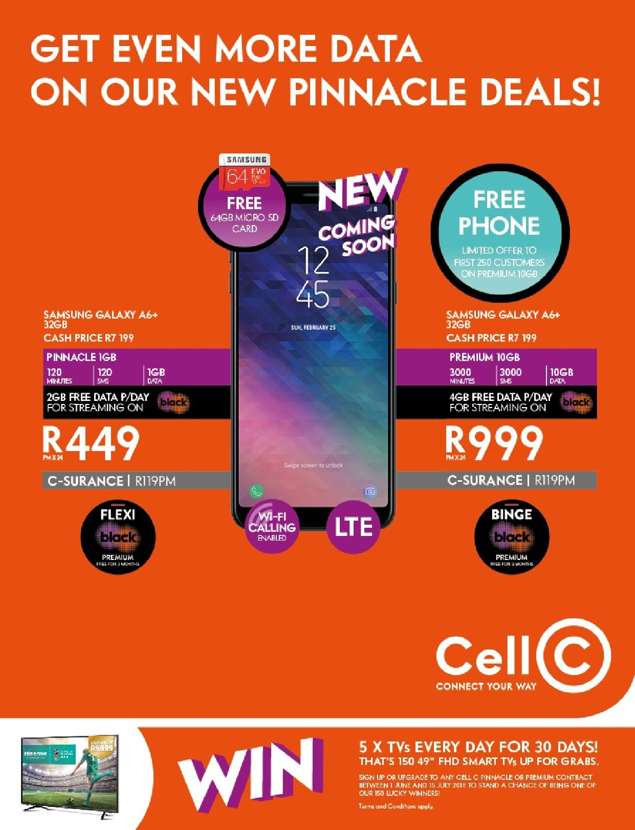 Cell C special - 06.01.2018 - 07.15.2018 - Sales products - galaxy, samsung. Page 1.