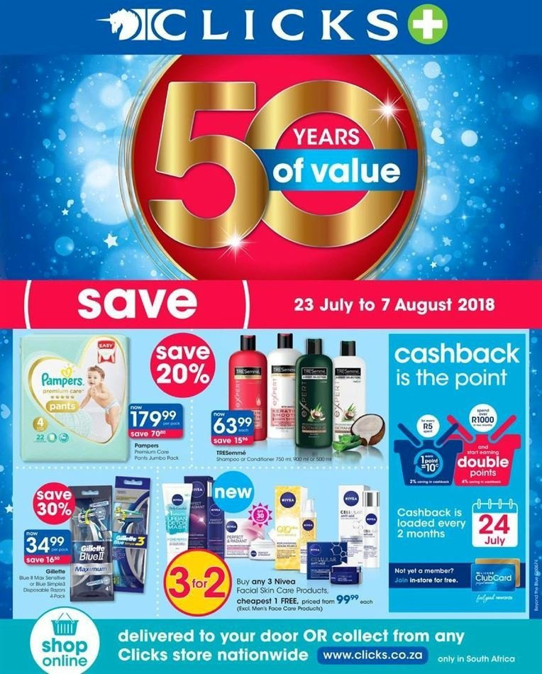 Clicks special - 07.23.2018 - 08.07.2018 - Sales products - tree, pampers, pants, nivea. Page 1.