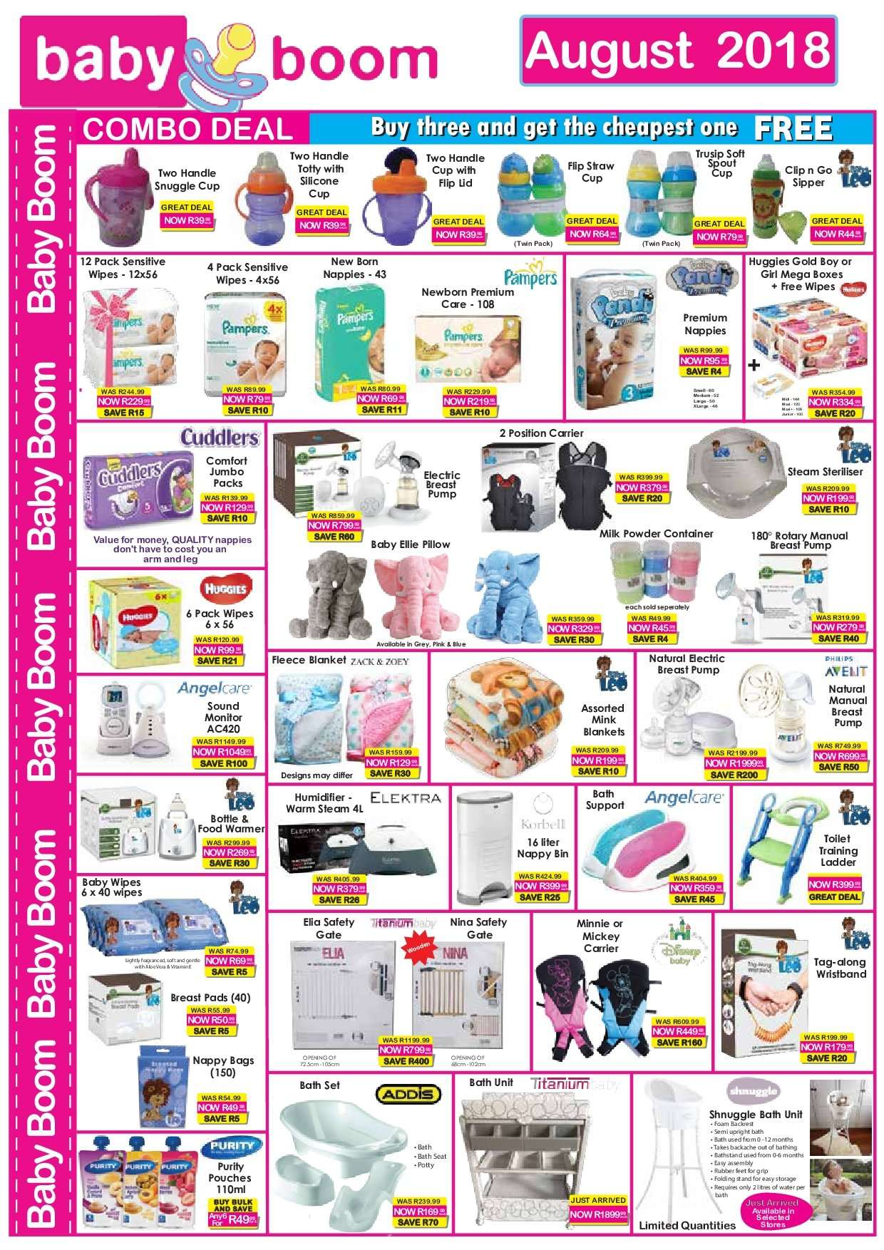 Baby Boom special - 08.01.2018 - 08.31.2018 - Sales products - bag, bath, bin, blanket, container, cup, milk, snuggle, wipes, huggies, pillow, pampers, pump, nappies, steam, toilet, diapers. Page 1.