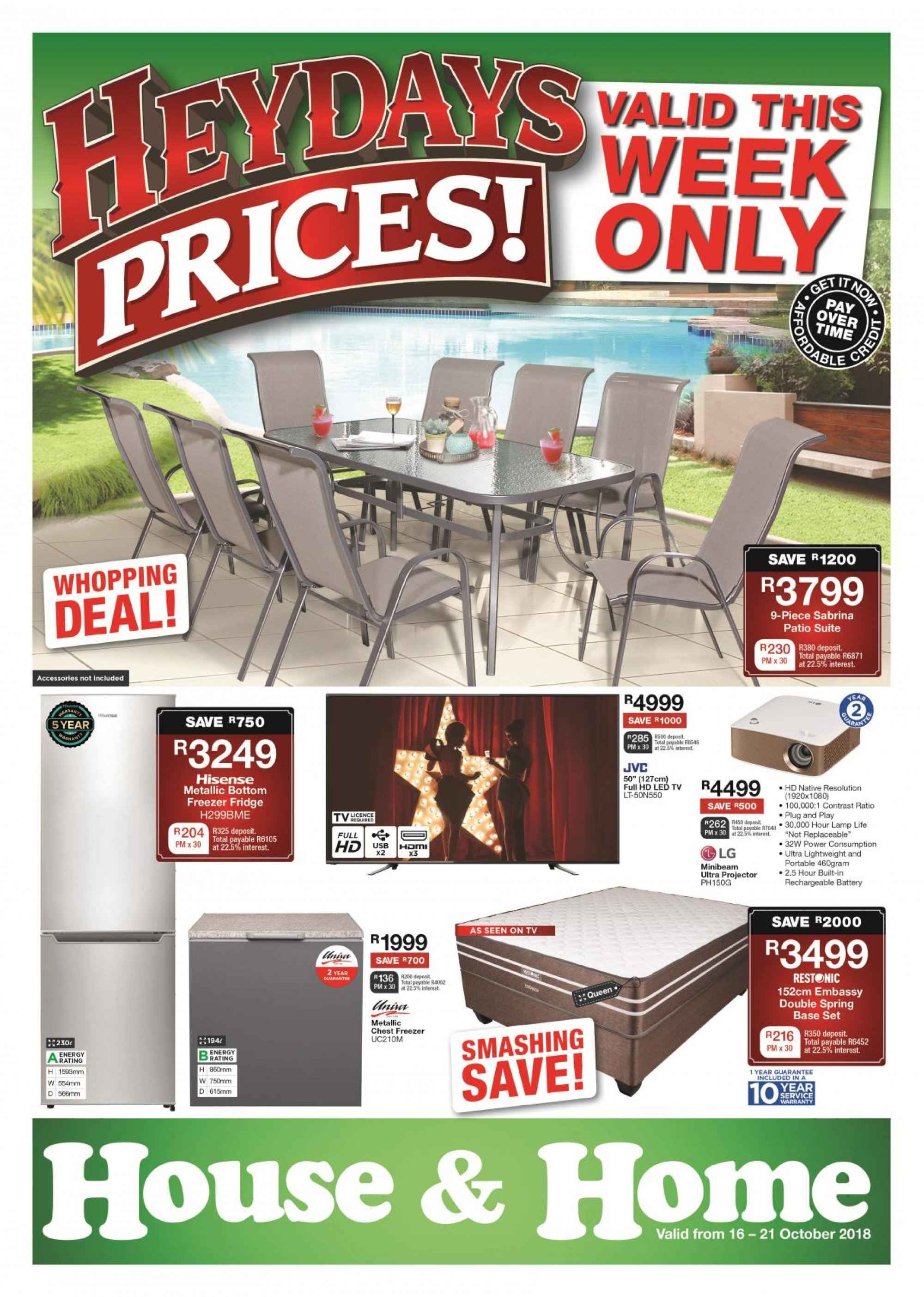 House & Home special - 10.16.2018 - 10.21.2018 - Sales products - battery, freezer, full hd, lamp, led tv, fridge, patio, projector, chest freezer. Page 1.