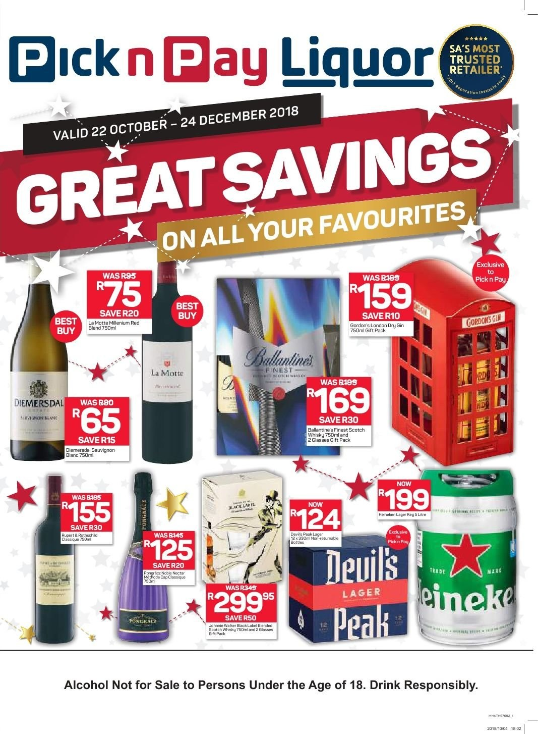 Pick n Pay special - 10.22.2018 - 12.24.2018 - Sales products - cap, gin, whisky, glasses. Page 1.