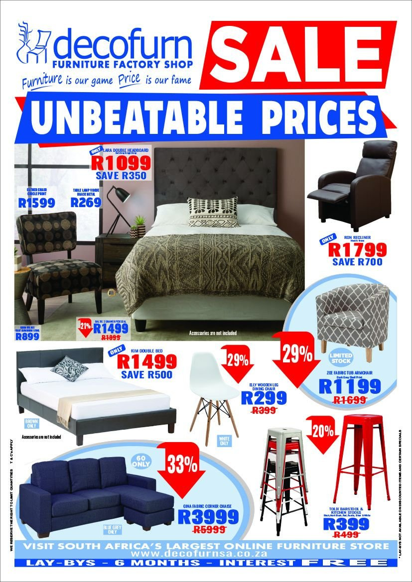 Decofurn Factory Shop special - 10.24.2018 - 12.04.2018 - Sales products - arm chair, bed, furniture, recliner, chair, chaise, game, barstool. Page 1.