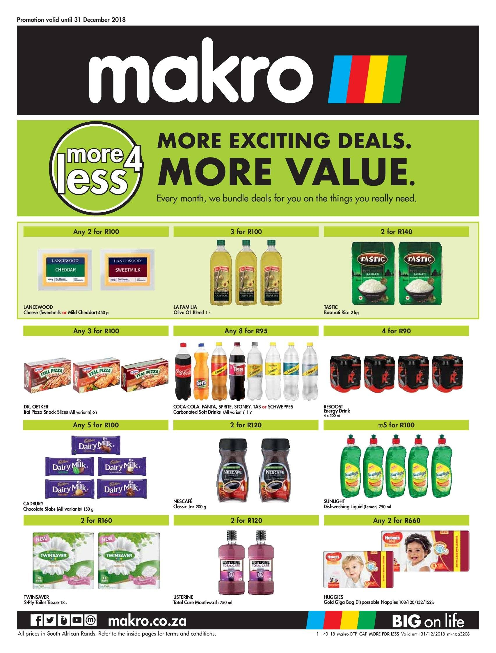 Makro special - 11.02.2018 - 12.31.2018 - Sales products - bag, basmati rice, bundle, cap, coca-cola, mild cheddar, milk, rice, schweppes, sprite, toilet, huggies, jar, pizza, cheddar, olive oil, chocolate. Page 1.