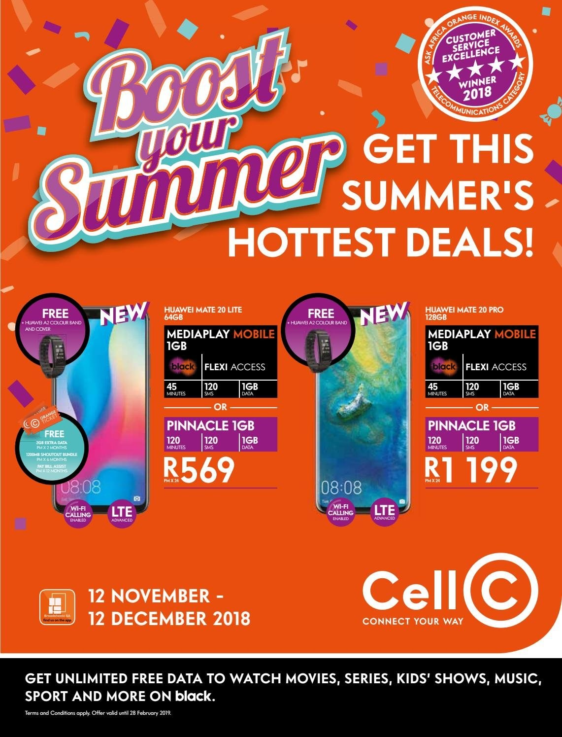 Cell C special - 11.12.2018 - 12.12.2018 - Sales products - band, mate, watch, wifi, huawei. Page 1.