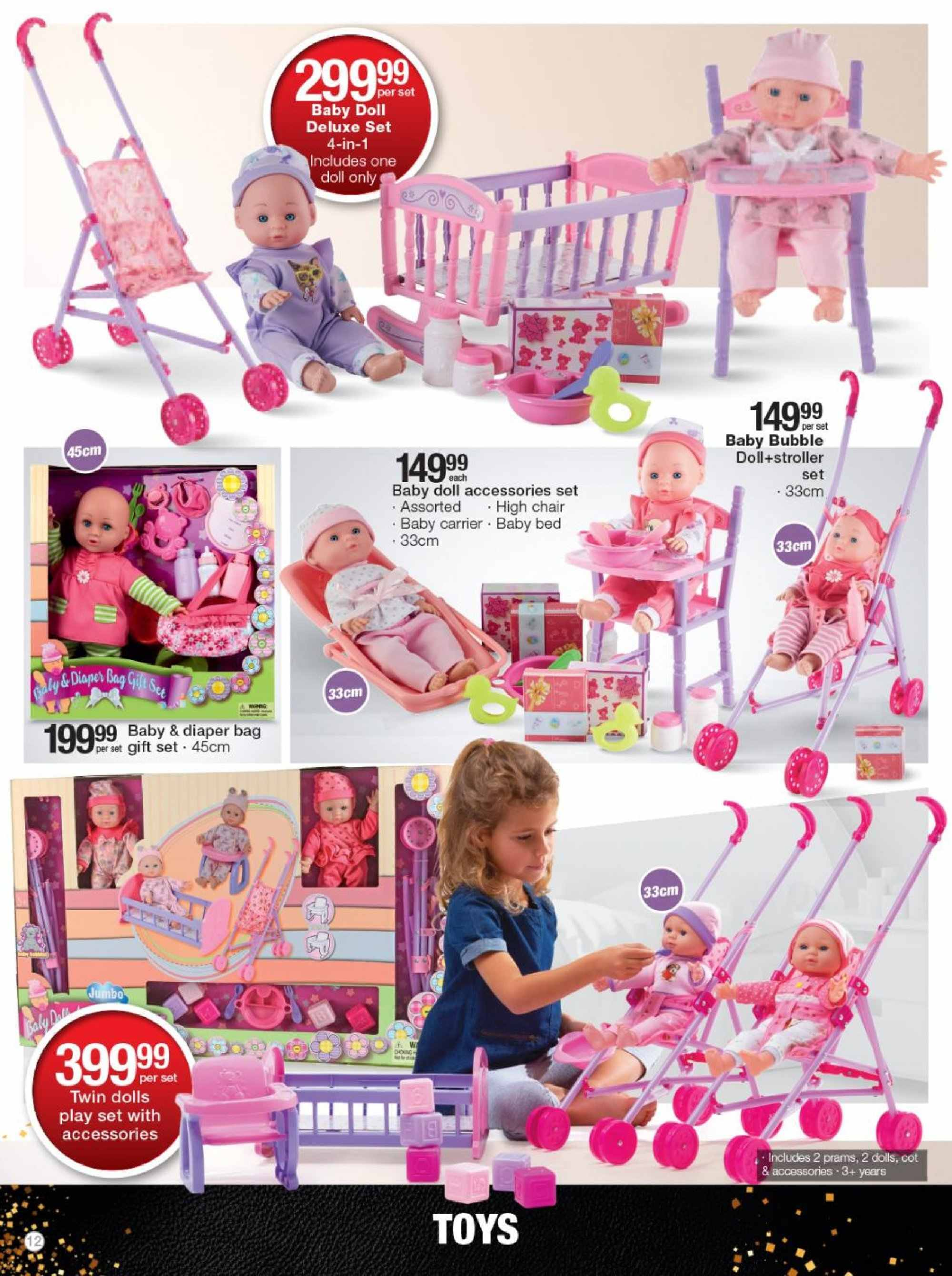 Checkers special - 11.19.2018 - 12.25.2018 - Sales products - bag, bed, doll, gift set, high chair, chair, play set, toys. Page 12.