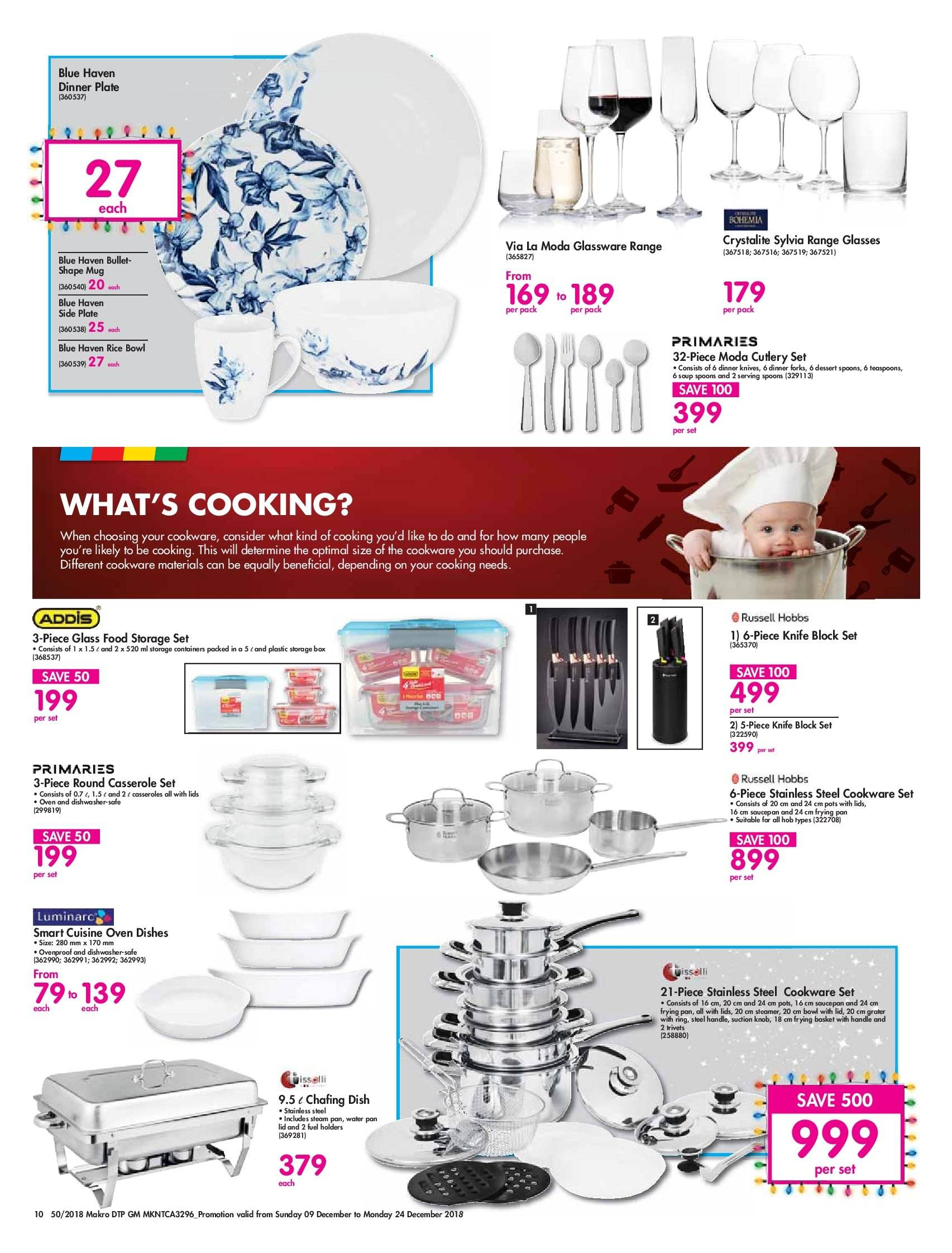 Makro special - 12.09.2018 - 12.24.2018 - Sales products - basket, bowl, cookware set, knife, knob, mug, rice, ring, spoon, storage set, pan, oven, glasses, soup. Page 10.