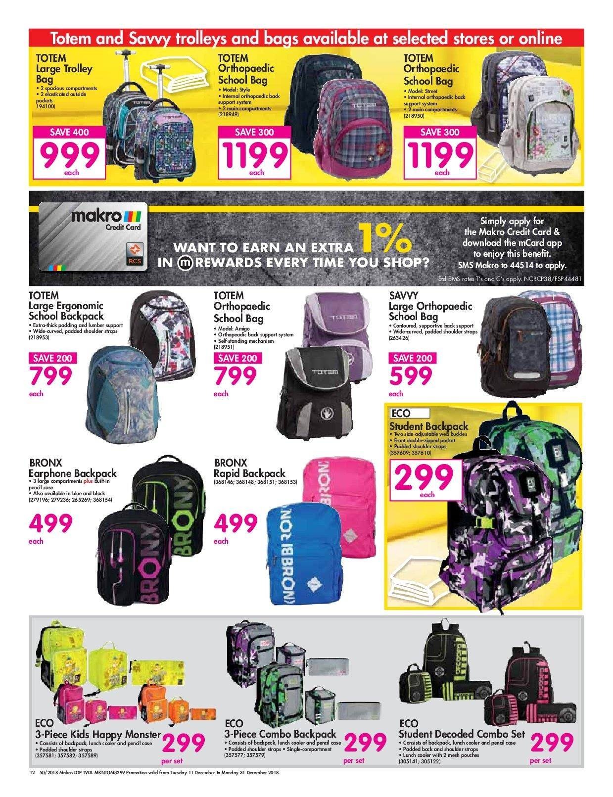 Makro special - 12.11.2018 - 12.31.2018 - Sales products - backpack 5ac2fc8327adc