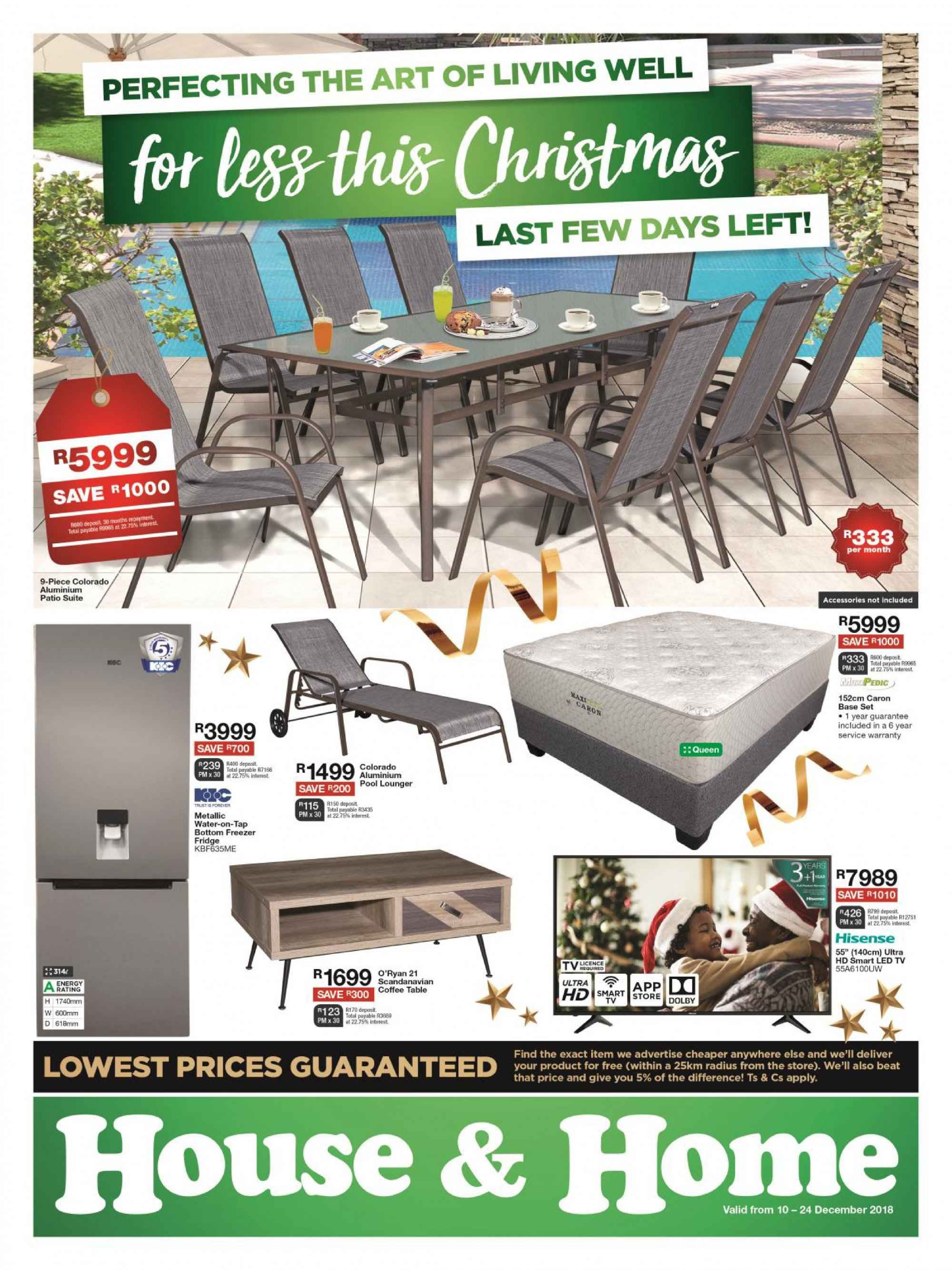 House & Home special - 12.10.2018 - 12.24.2018 - Sales products - bottom, coffee, coffee table, freezer, led tv, fridge, table, uhd tv, ultra hd, patio, water. Page 1.