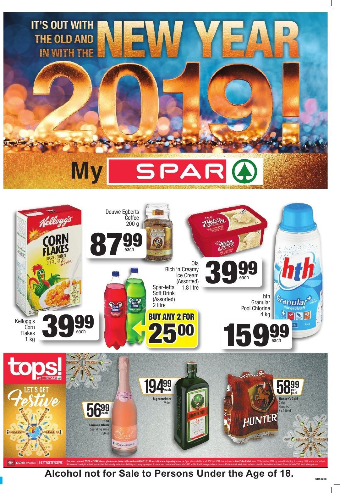 SPAR special - 12.26.2018 - 01.06.2019 - Sales products - coffee, corn, cream, sparkling wine, ice cream, corn flakes, wine, pool. Page 1.